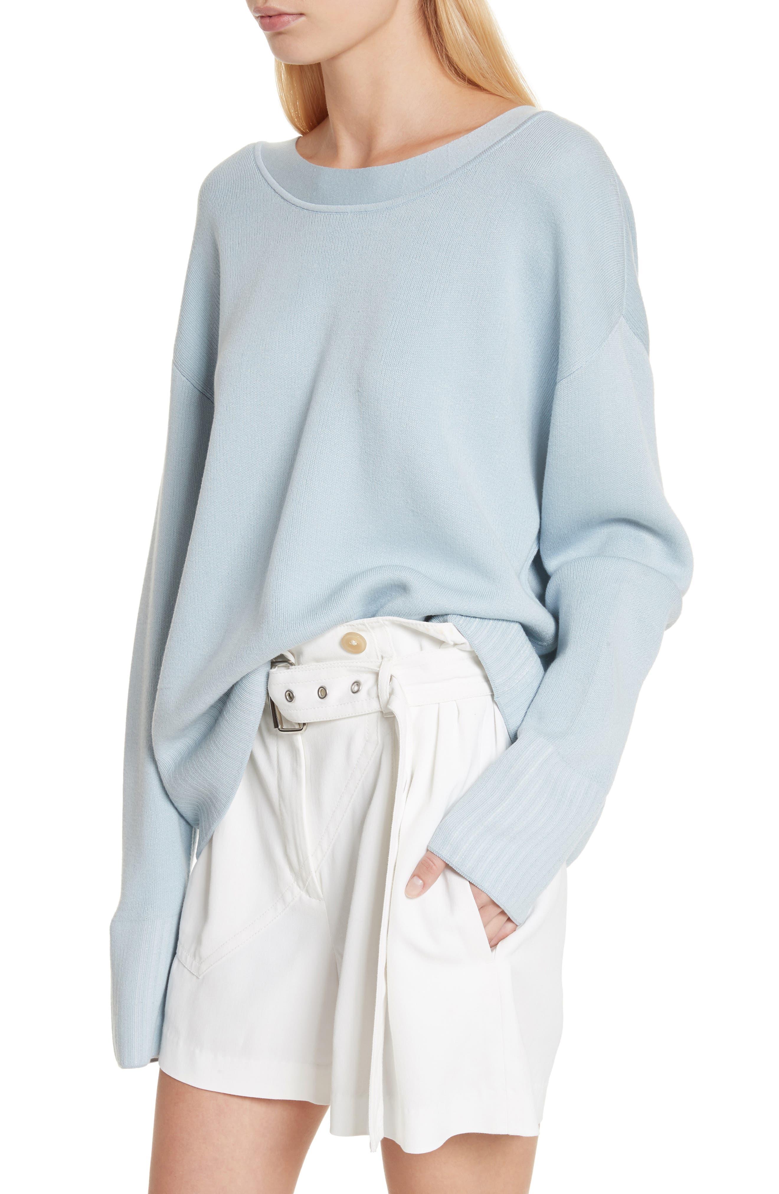 Silk & Cotton Blend Sweater,                             Alternate thumbnail 4, color,                             450