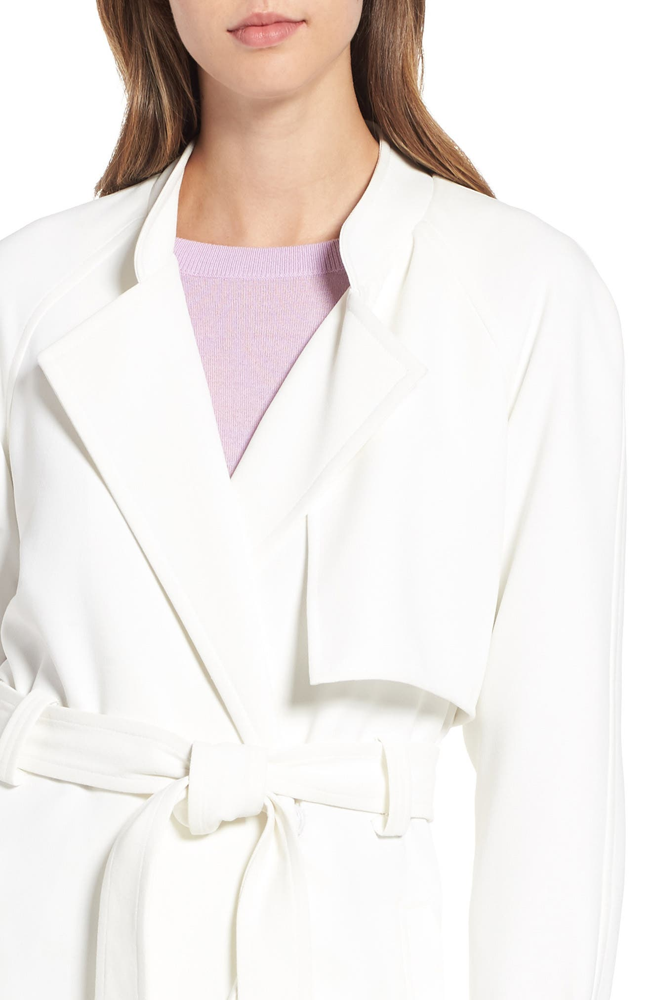 Crepe Wrap Trench,                             Alternate thumbnail 4, color,                             WHITE