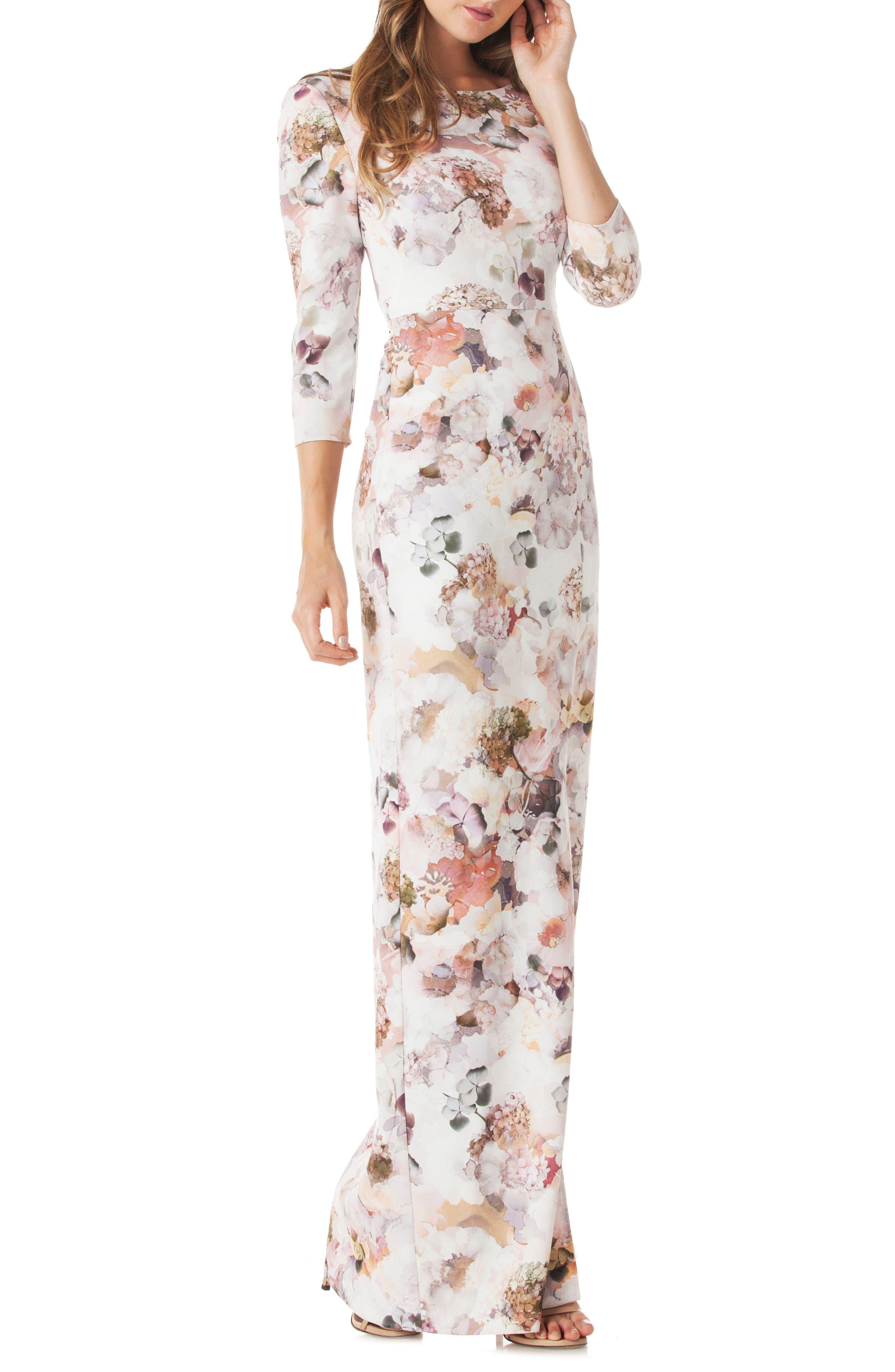 Floral Print Crepe Column Gown,                         Main,                         color, 100