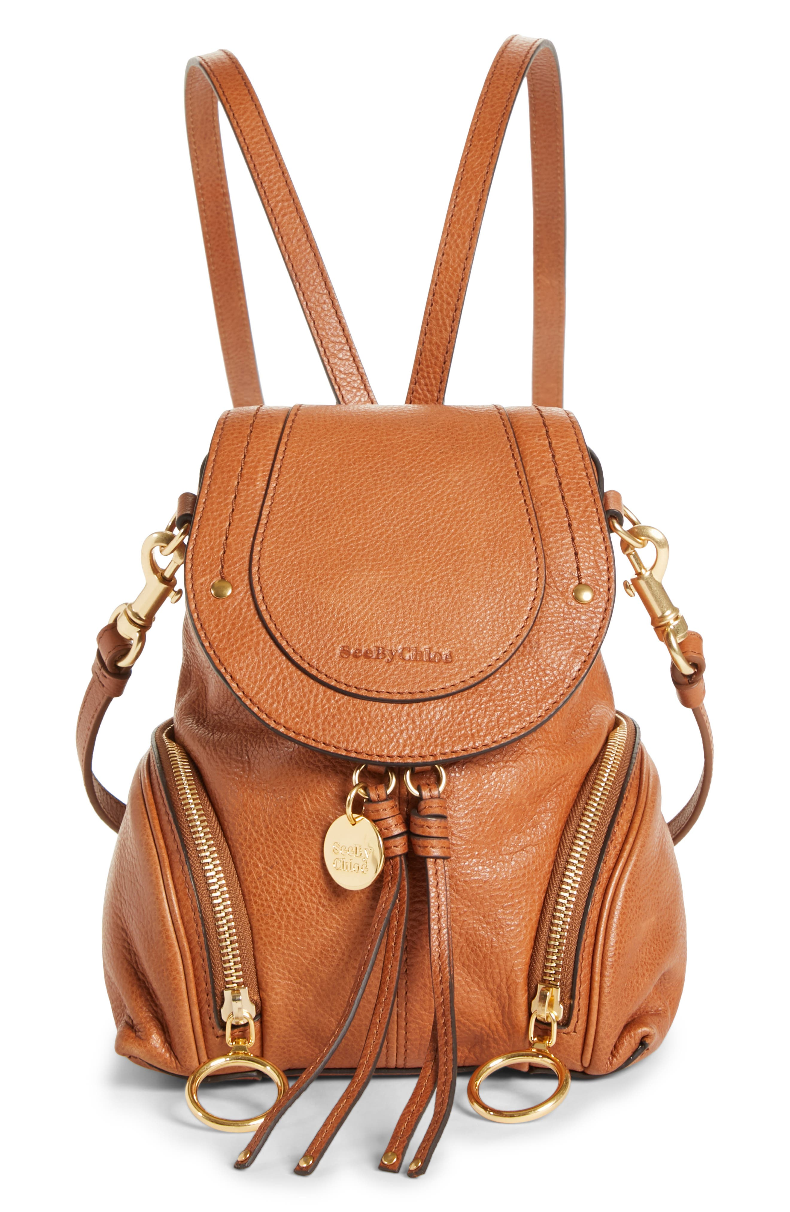 See By Chloe Small Olga Leather Backpack - Brown