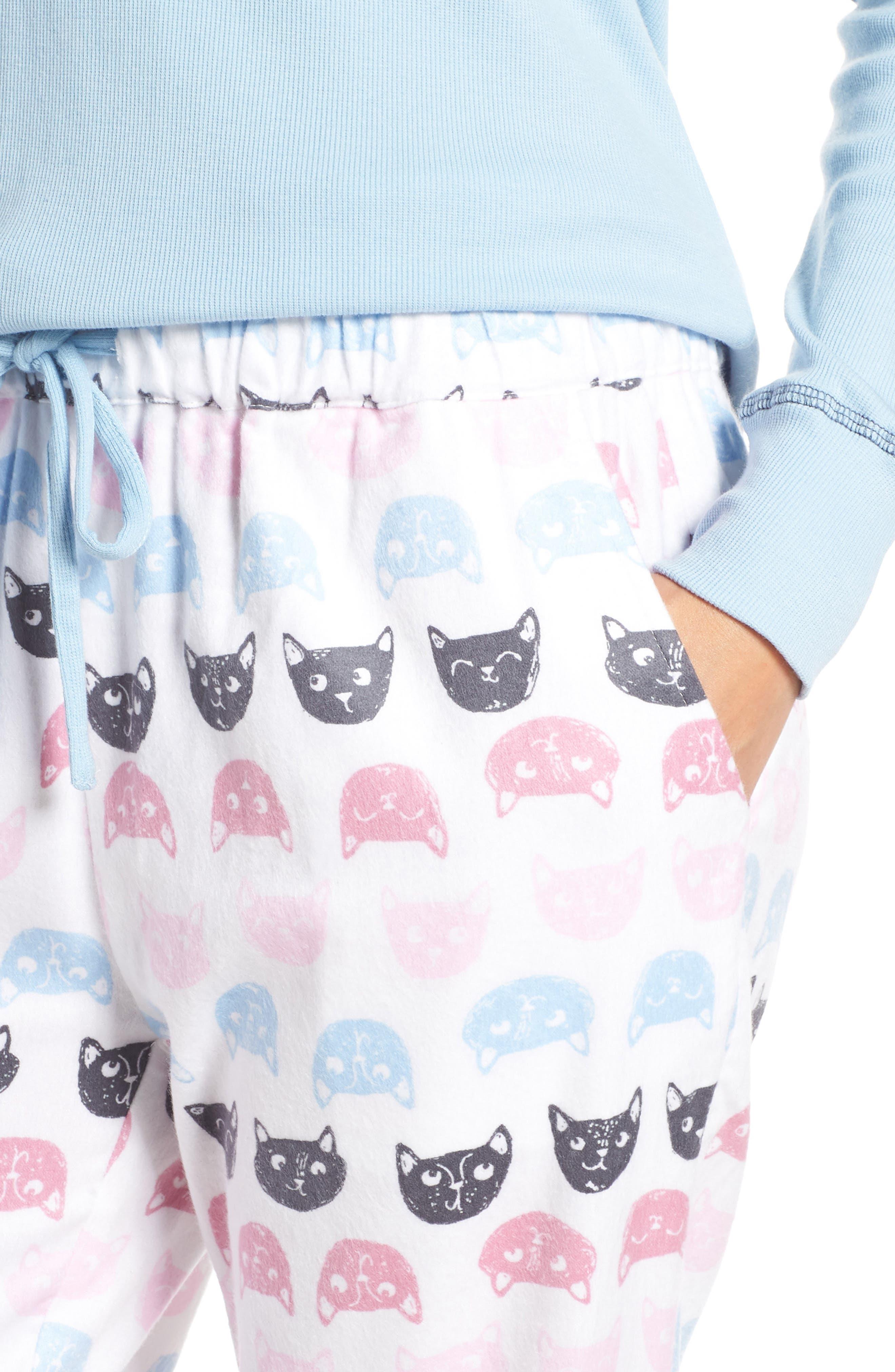 MUNKI MUNKI,                             Knit & Flannel Pajamas,                             Alternate thumbnail 4, color,                             WHITE CATS
