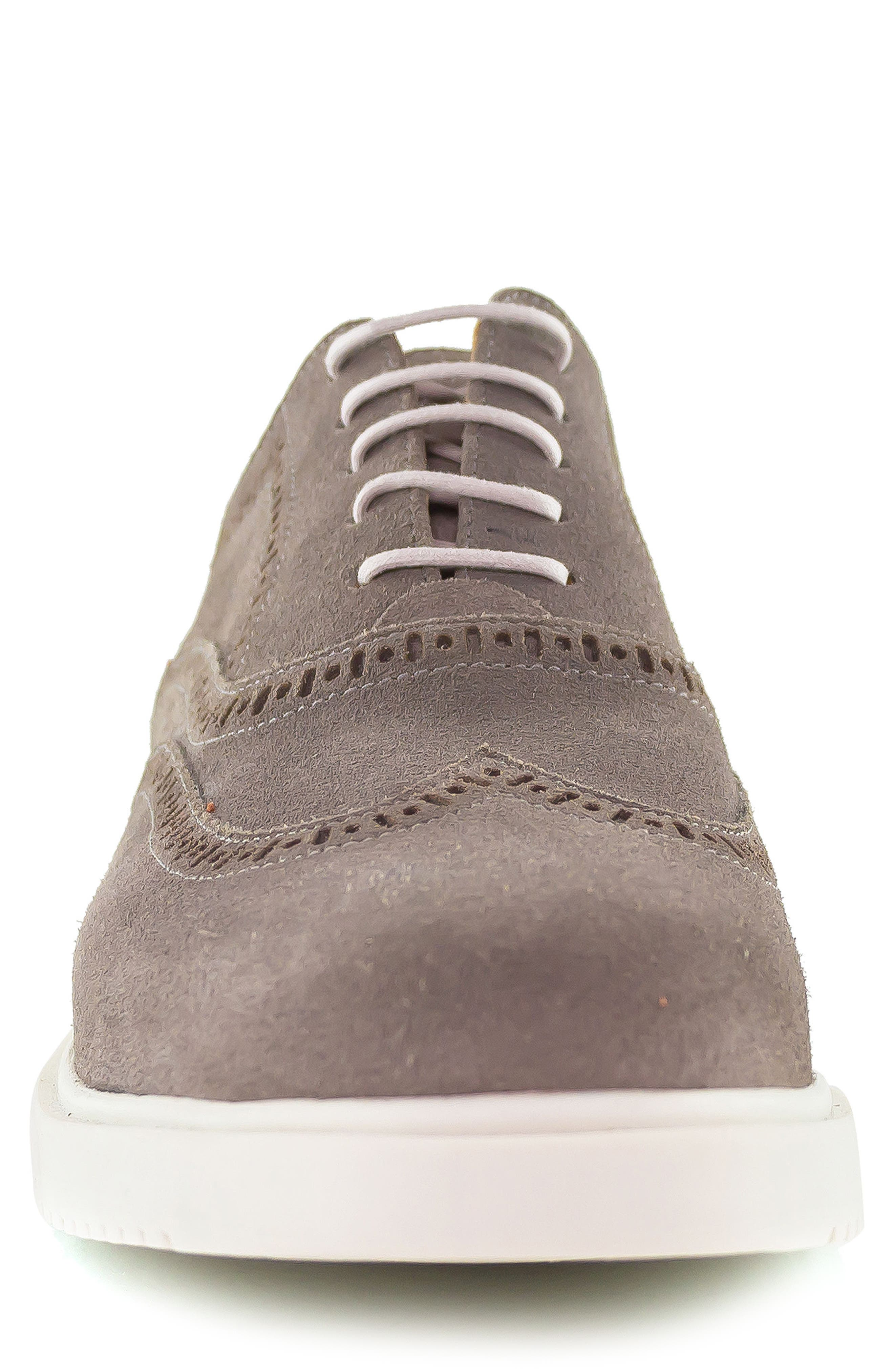 5th Ave Wingtip Sneaker,                             Alternate thumbnail 4, color,                             GREY SUEDE