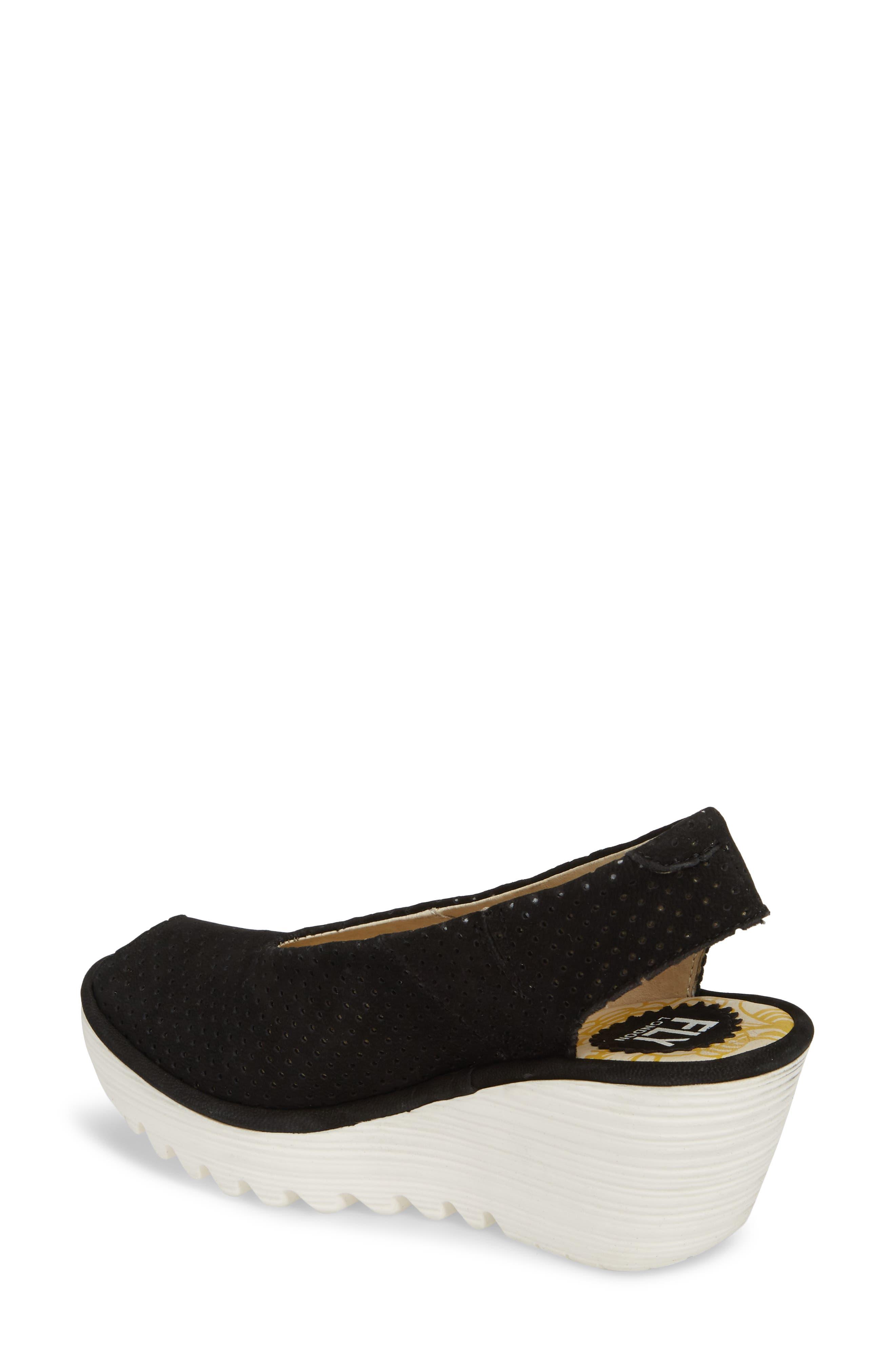 Yazu Wedge Sandal,                             Alternate thumbnail 2, color,                             BLACK/ BLACK LEATHER