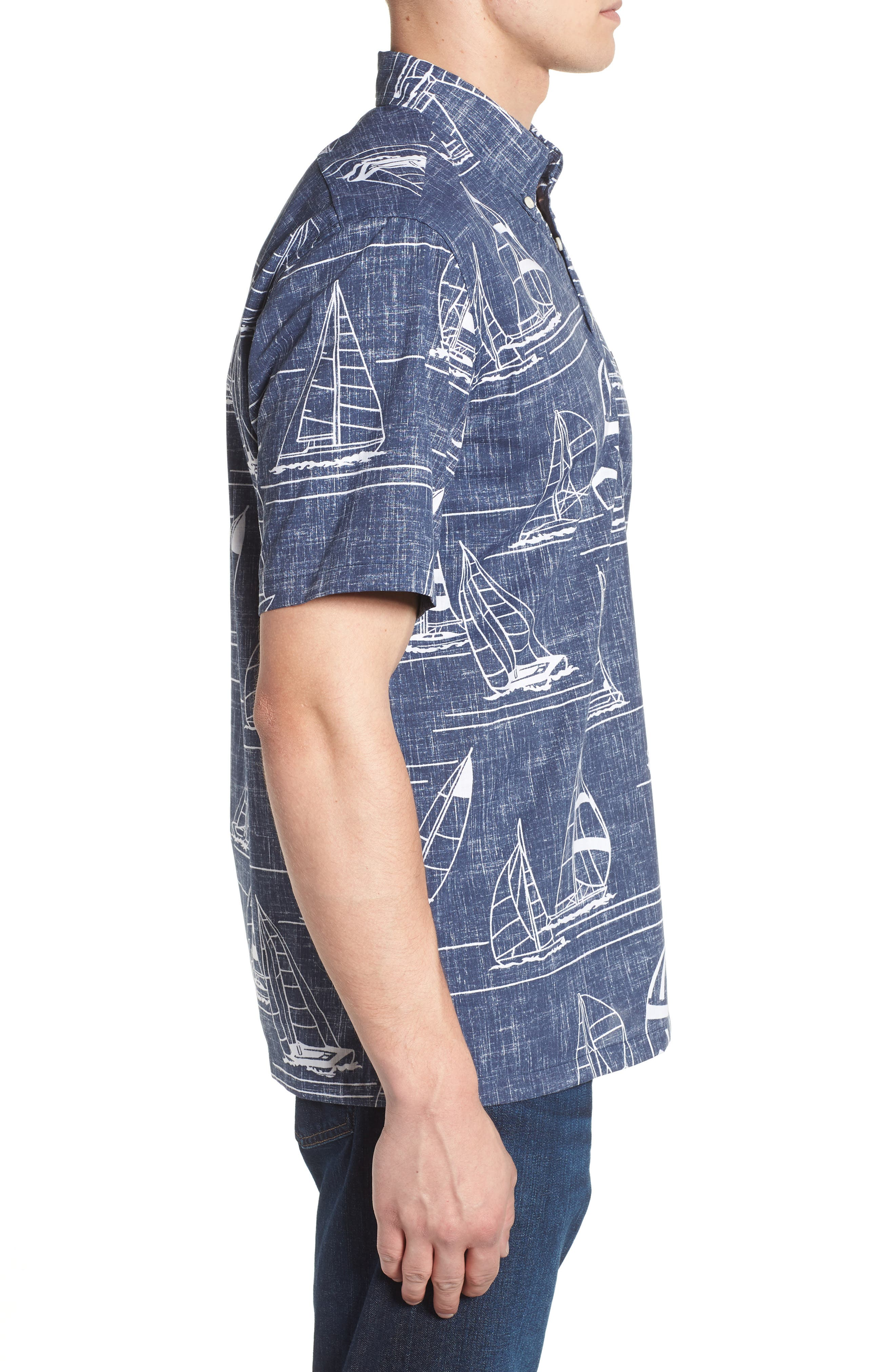 Newport 2 Honolulu Classic Fit Print Sport Shirt,                             Alternate thumbnail 3, color,                             INK