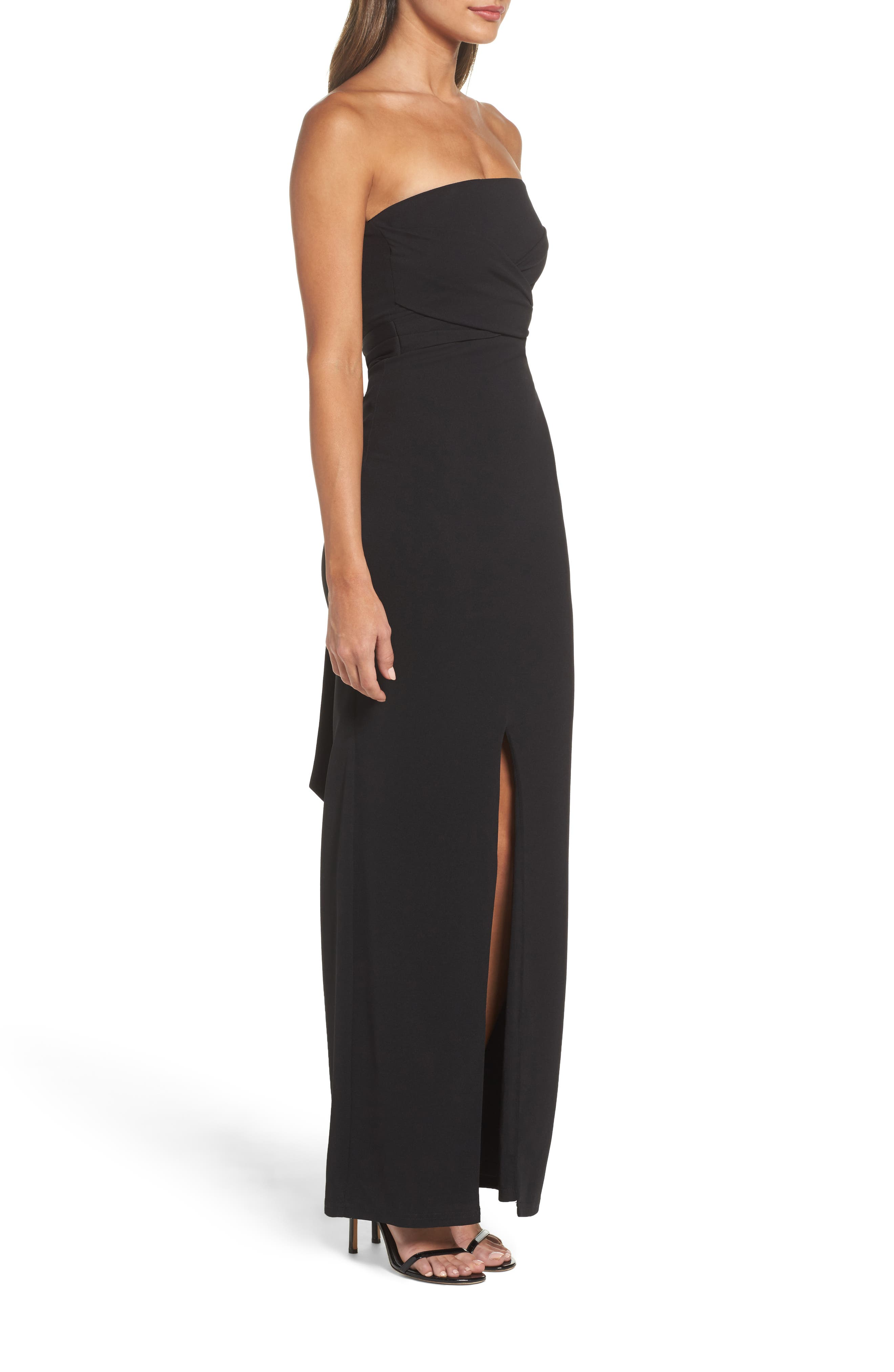 LULUS,                             Own the Night Strapless Maxi Dress,                             Alternate thumbnail 3, color,                             BLACK