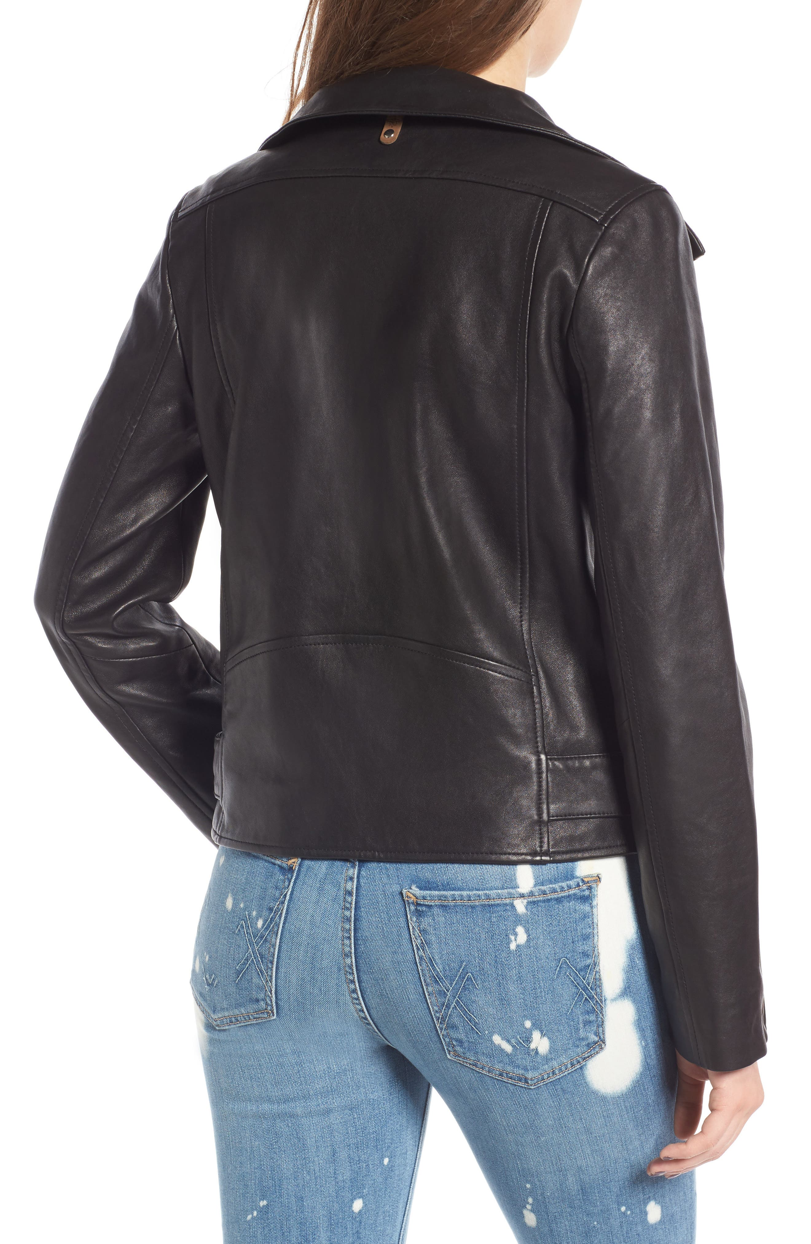 Miela-N Belted Leather Moto Jacket,                             Alternate thumbnail 2, color,                             001