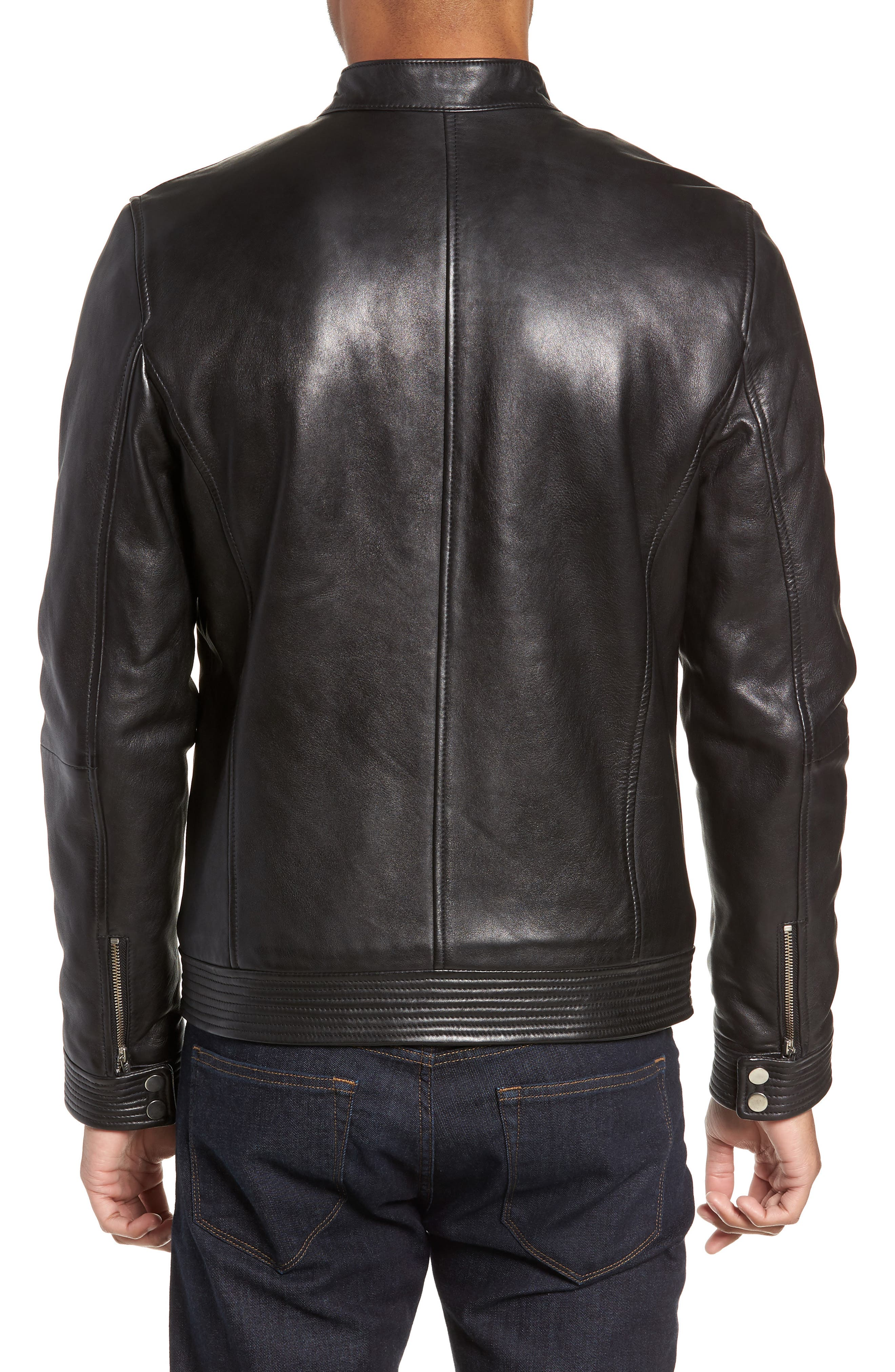 Leather Racer Jacket,                             Alternate thumbnail 2, color,                             001