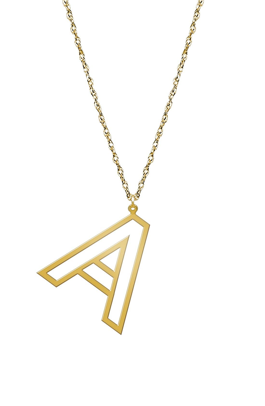 Varsity Initial Pendant Necklace,                             Main thumbnail 1, color,                             GOLD - A