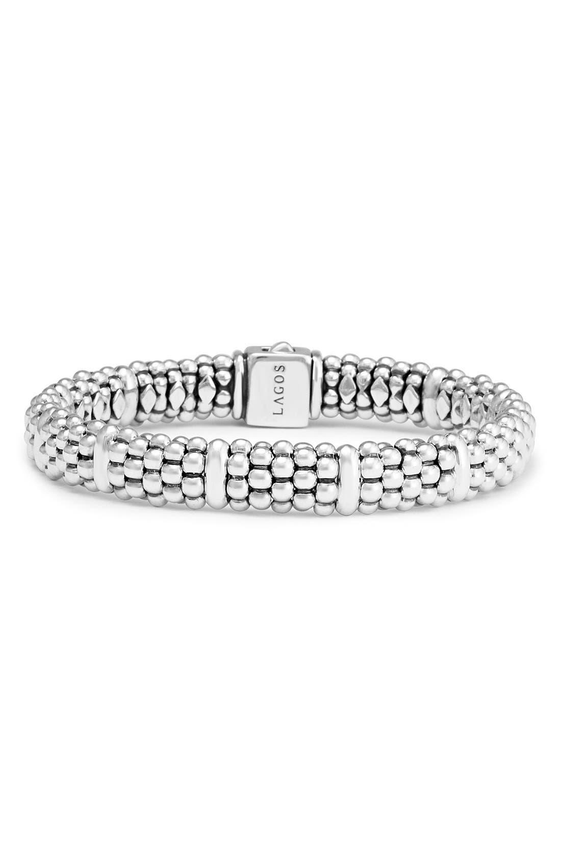 Oval Rope Caviar Bracelet,                             Main thumbnail 1, color,                             SILVER