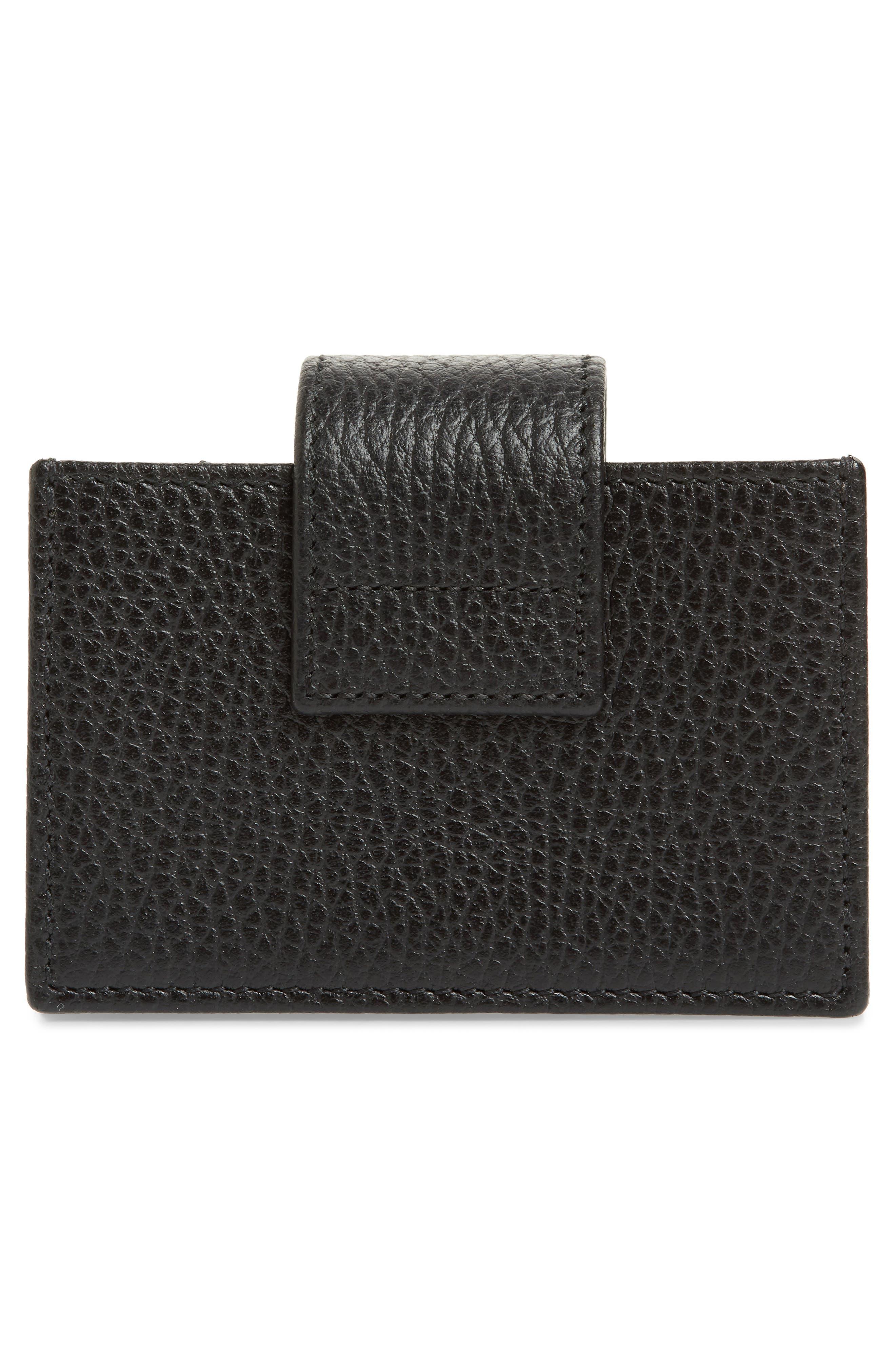 Petite Marmont Leather Card Case,                             Alternate thumbnail 3, color,                             NERO