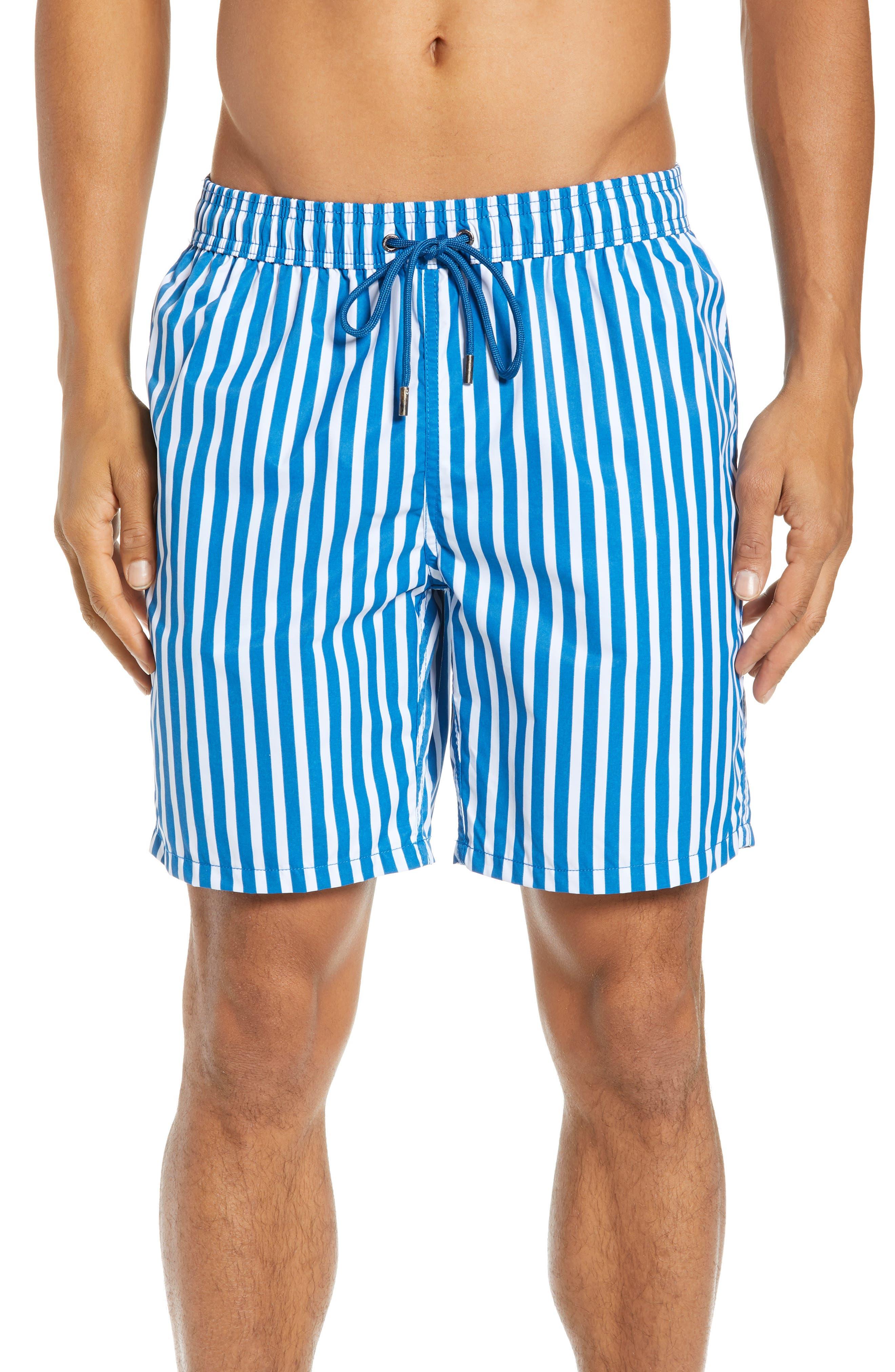 1960s Menswear Outfits | 60s Fashion for Guys Mens Mr. Swim Cabana Stripe Swim Trunks Size XX-Large - Blue $75.00 AT vintagedancer.com
