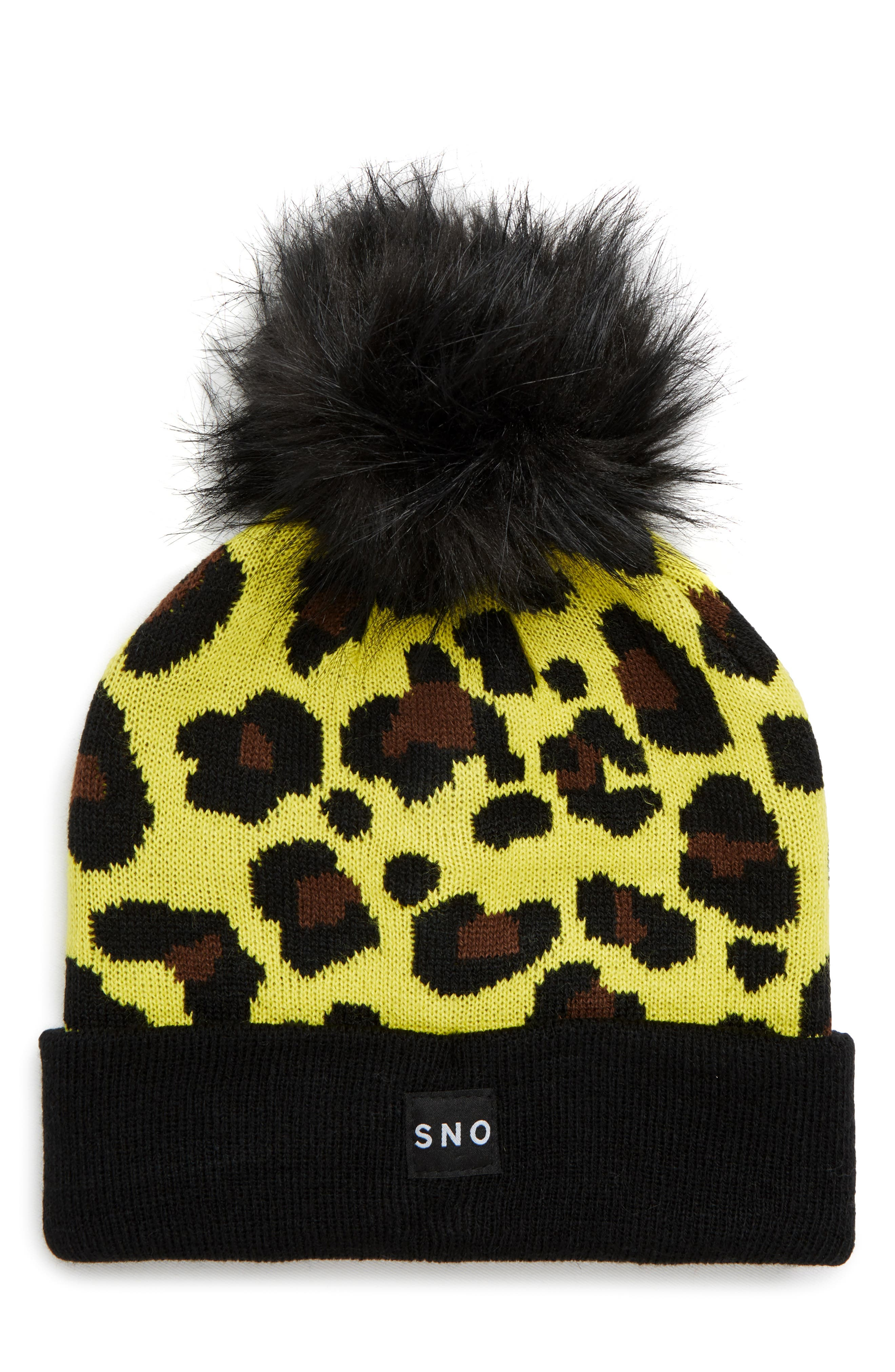 Sno Beanie with Faux Fur Pompom,                             Main thumbnail 1, color,                             BLACK MULTI