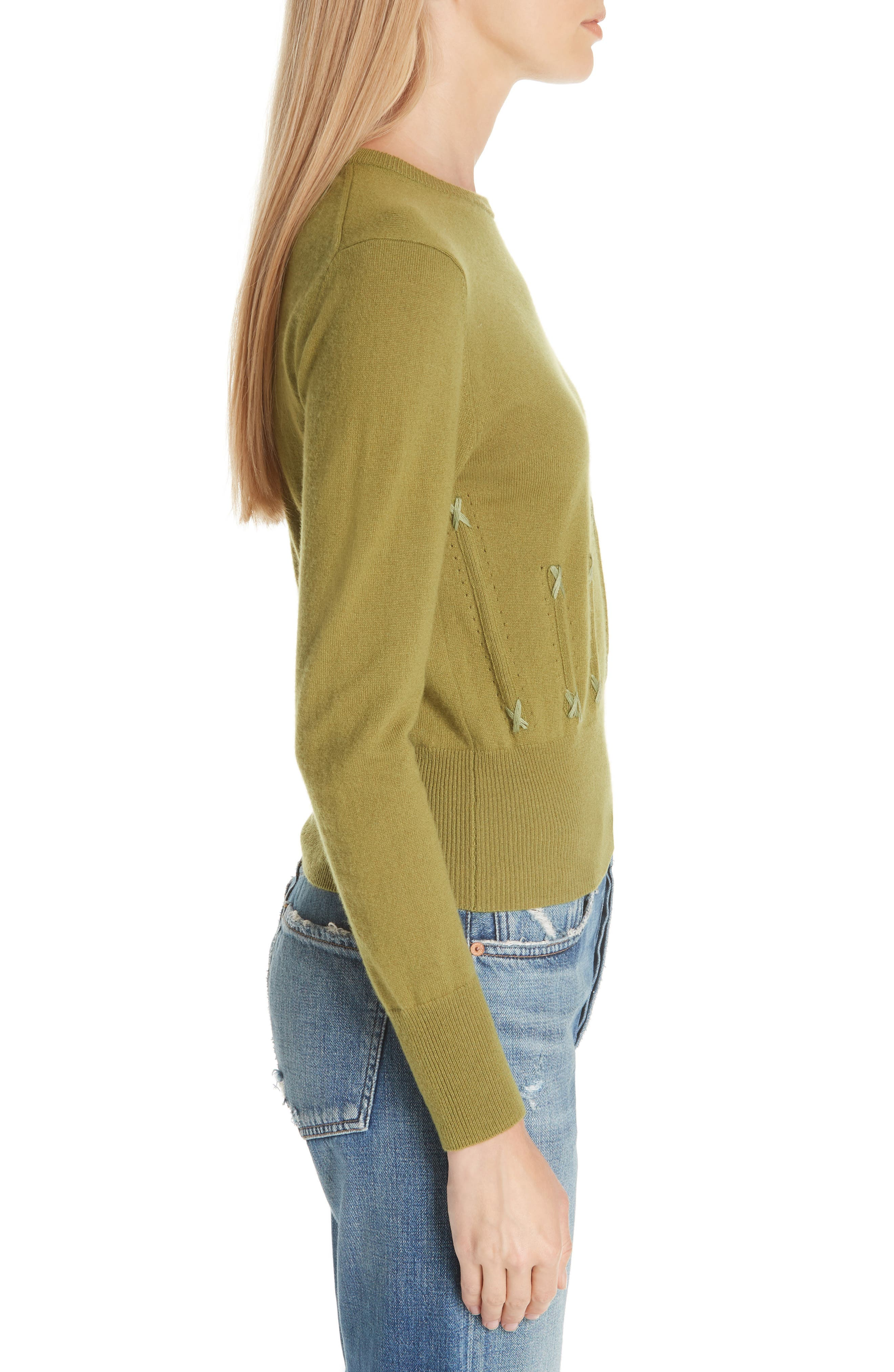 Cailyn Corset Knit Cashmere Sweater,                             Alternate thumbnail 3, color,                             GREEN
