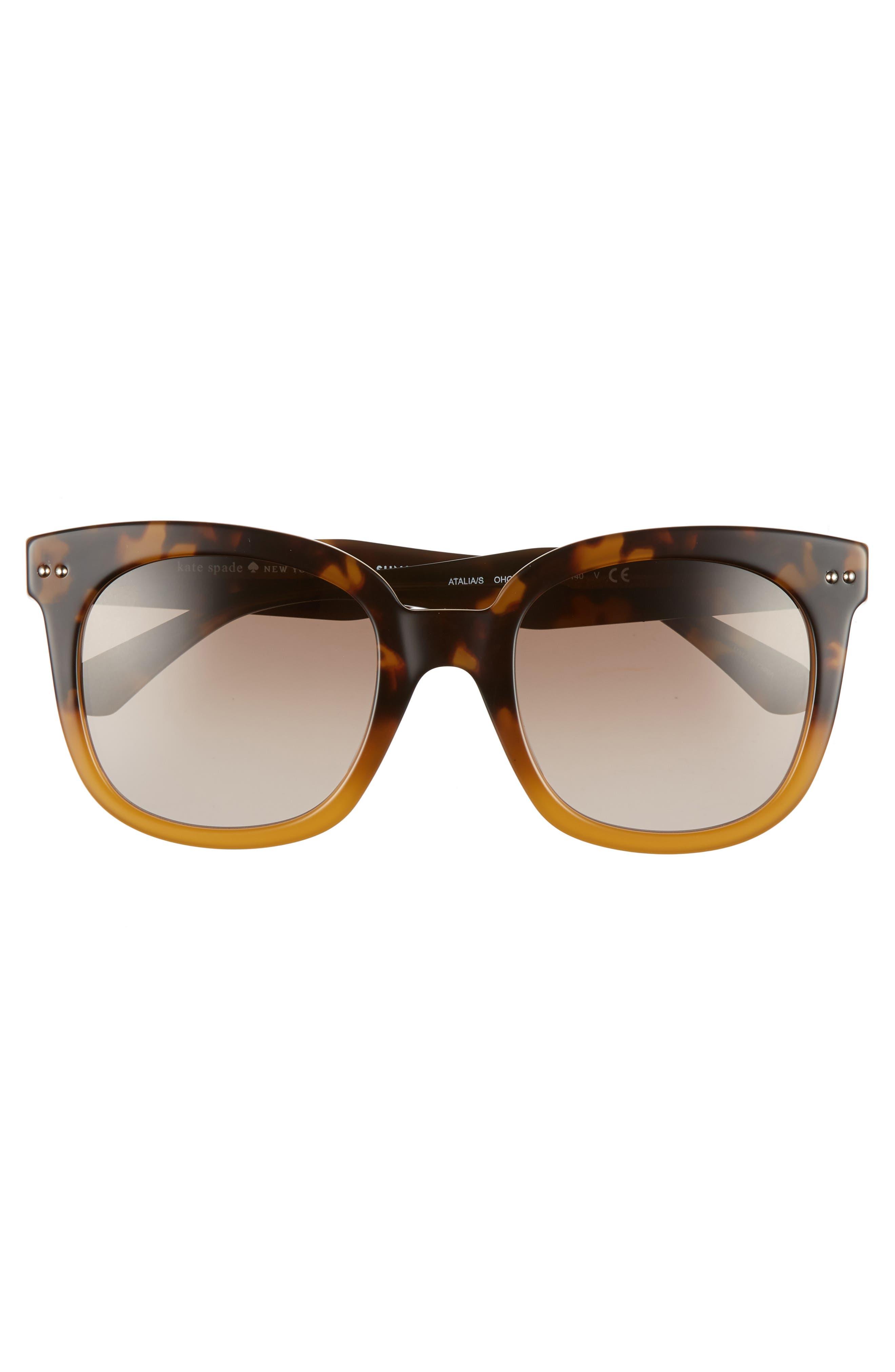 atalias 52mm square sunglasses,                             Alternate thumbnail 3, color,                             SHADE HAVANA BROWN