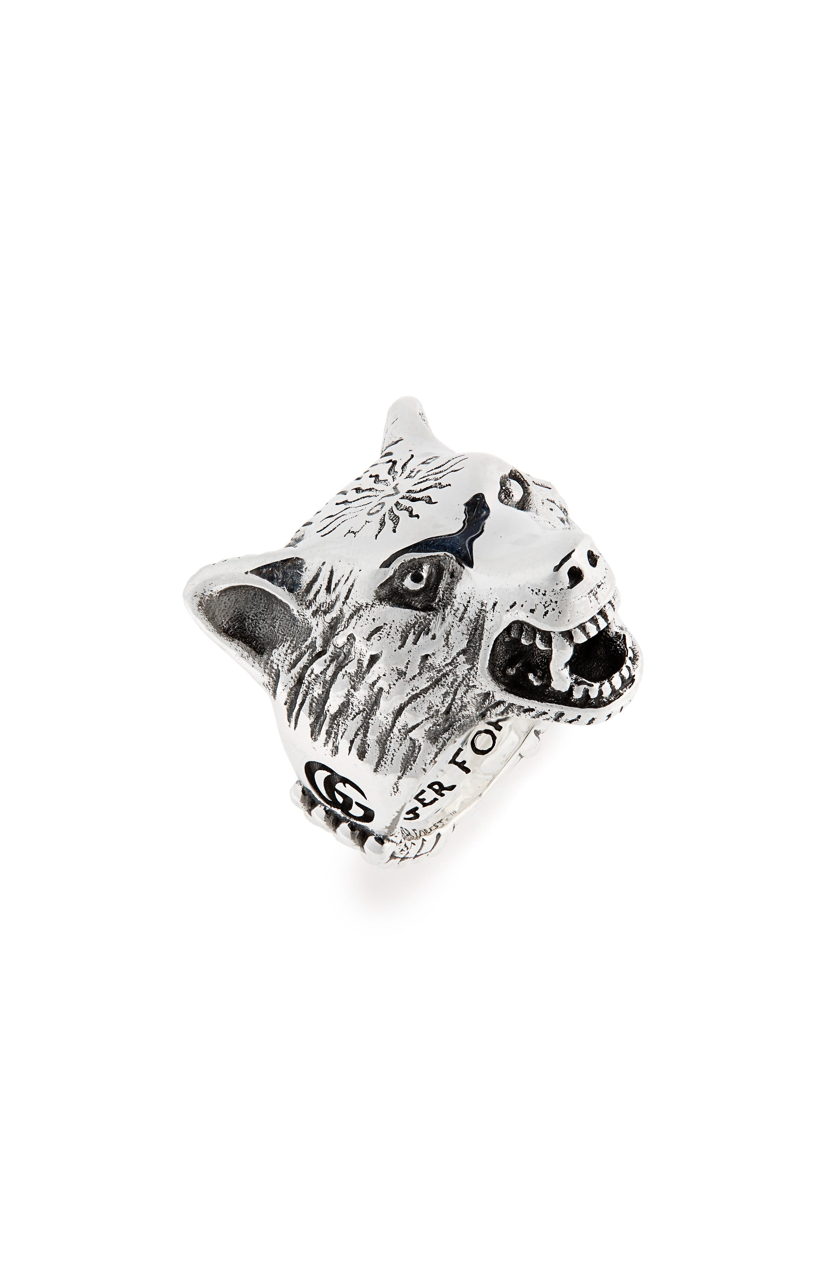 Wolf Head Sterling Silver Ring,                             Main thumbnail 1, color,                             SILVER
