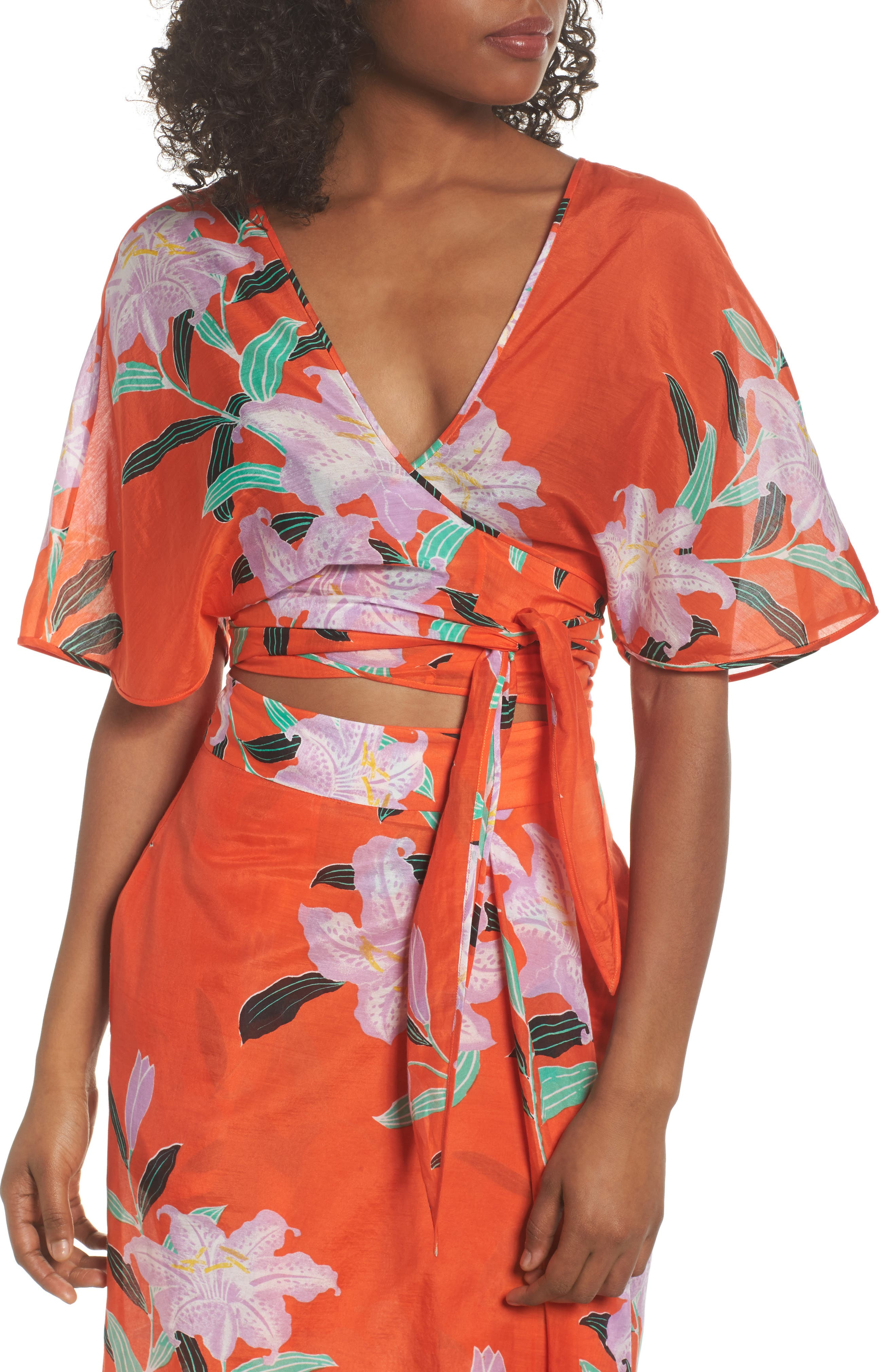 Wrap Cover-Up Top,                             Alternate thumbnail 4, color,                             802