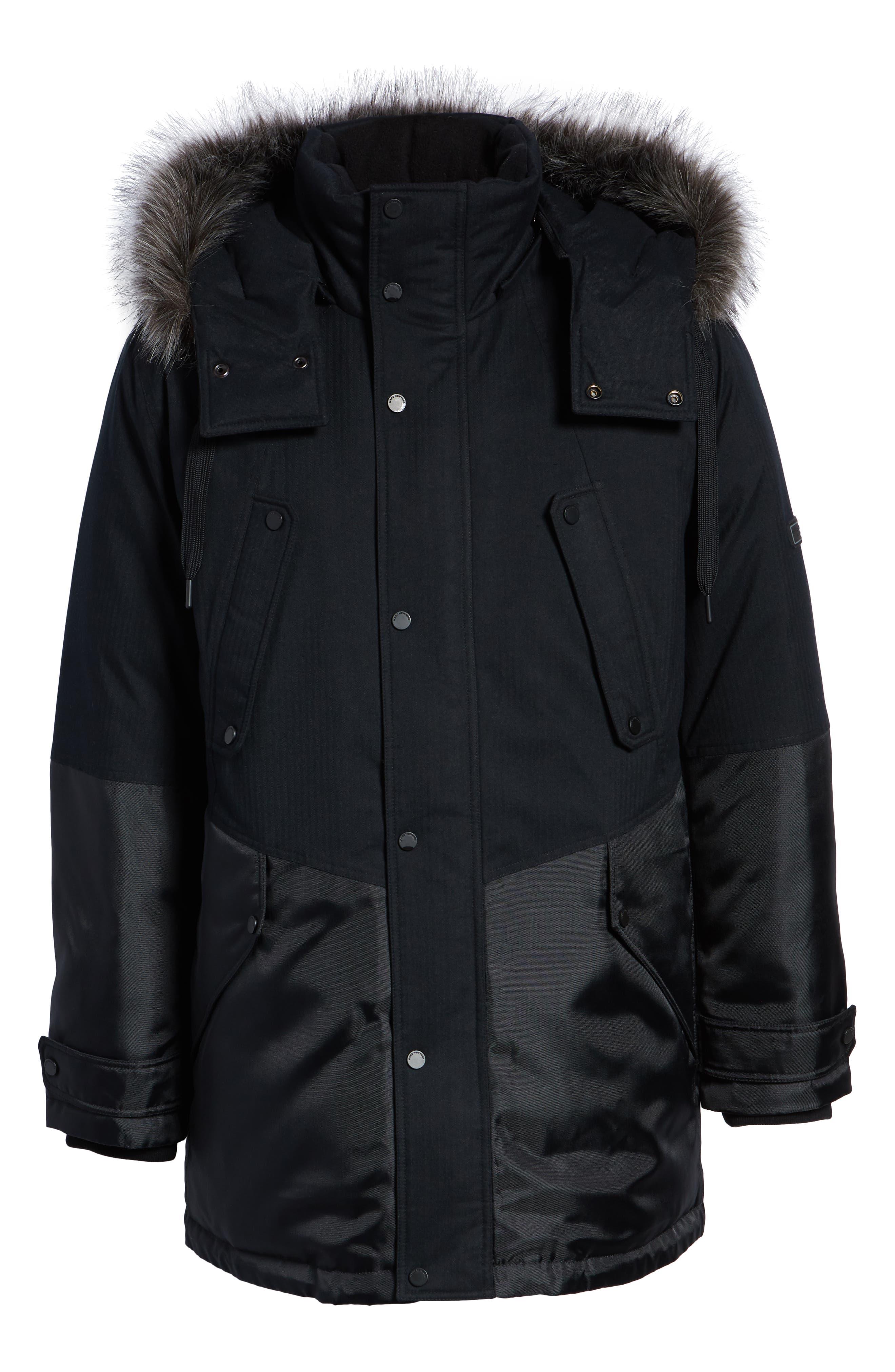Maxfield Faux Fur Trim Parka,                             Alternate thumbnail 6, color,                             BLACK