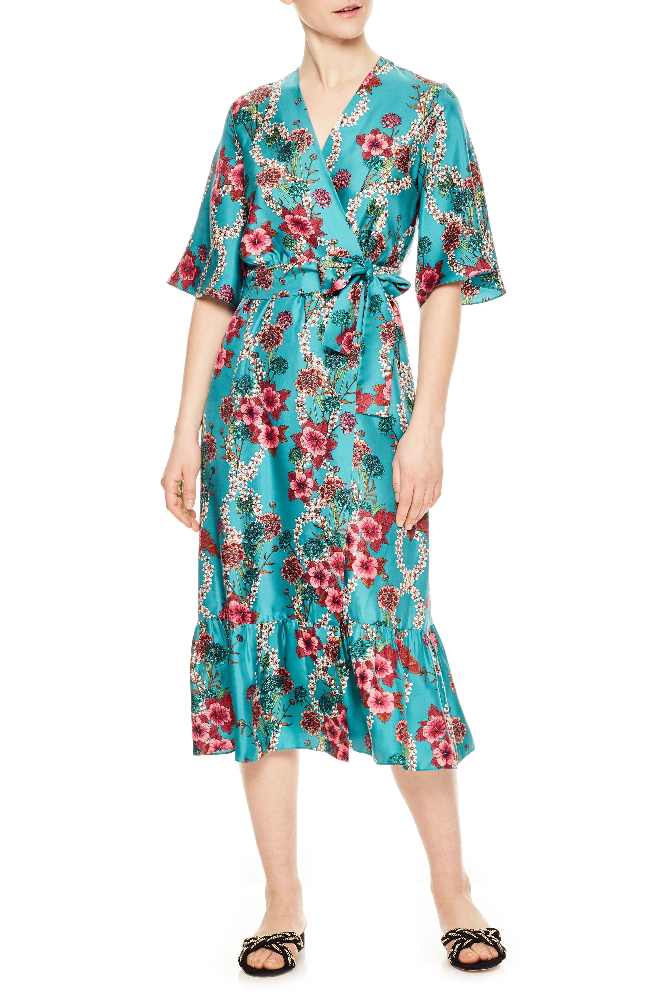 Floral Silk Wrap Dress,                             Main thumbnail 1, color,