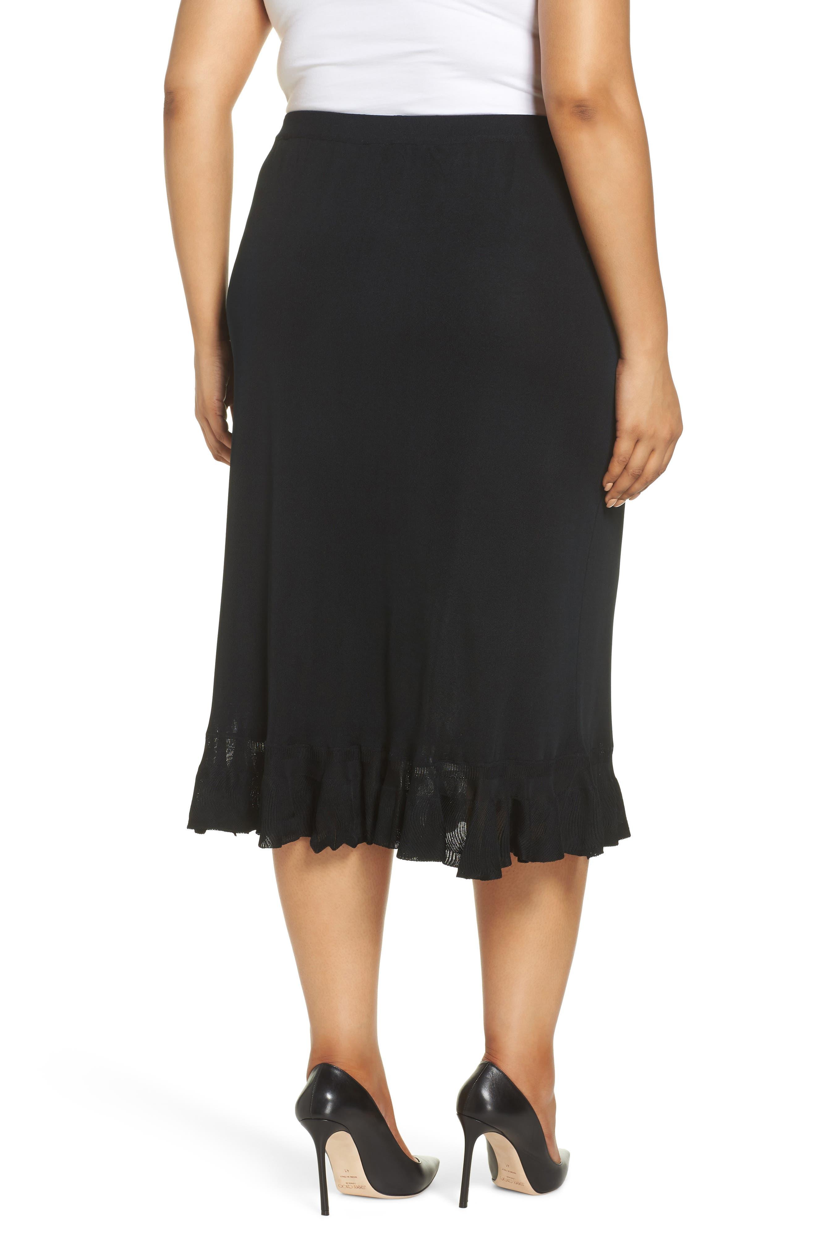 MING WANG,                             Ruffle Hem Skirt,                             Alternate thumbnail 2, color,                             BLACK
