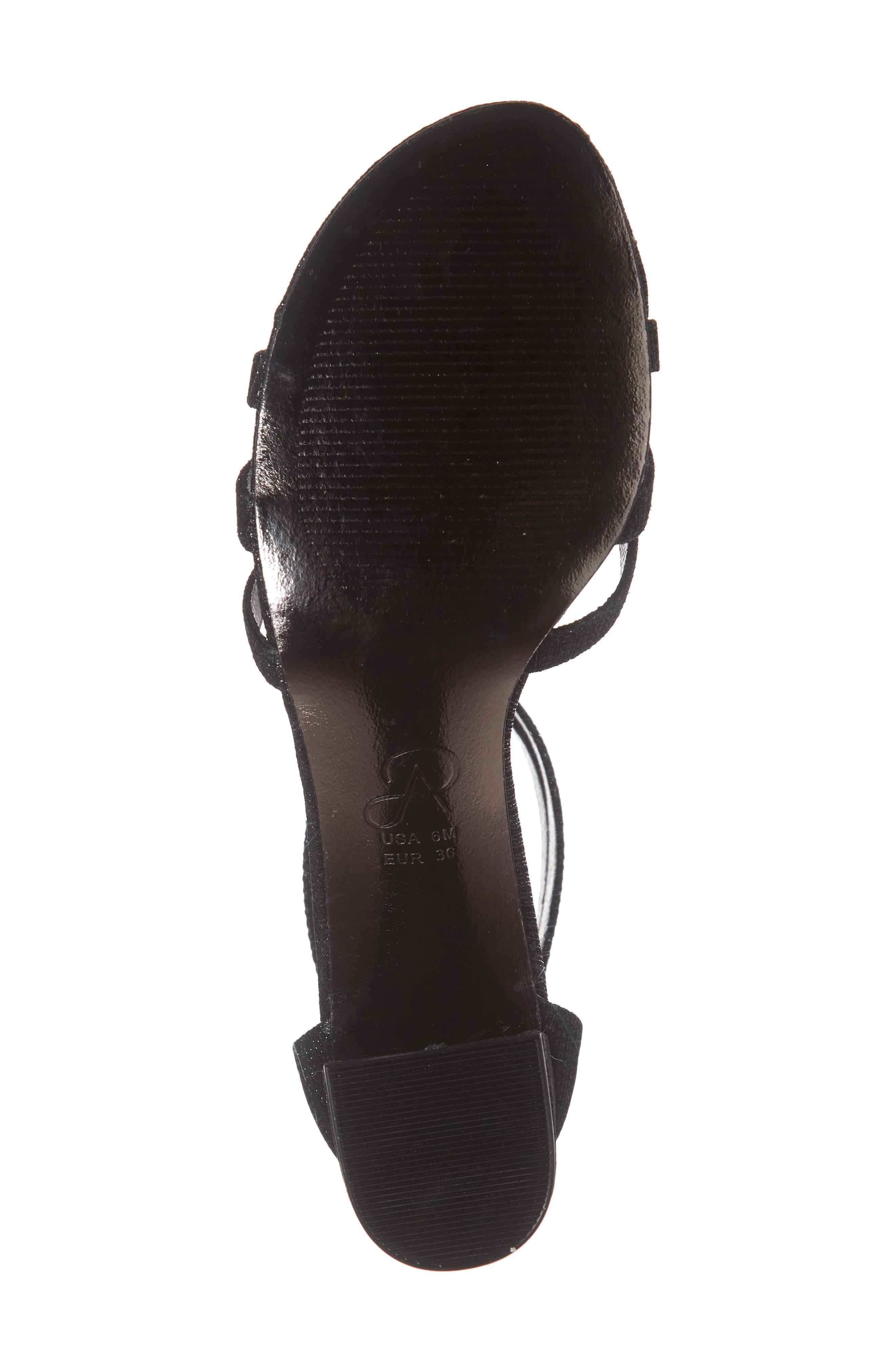 Anella Block Heel Sandal,                             Alternate thumbnail 6, color,                             BLACK GLITTER