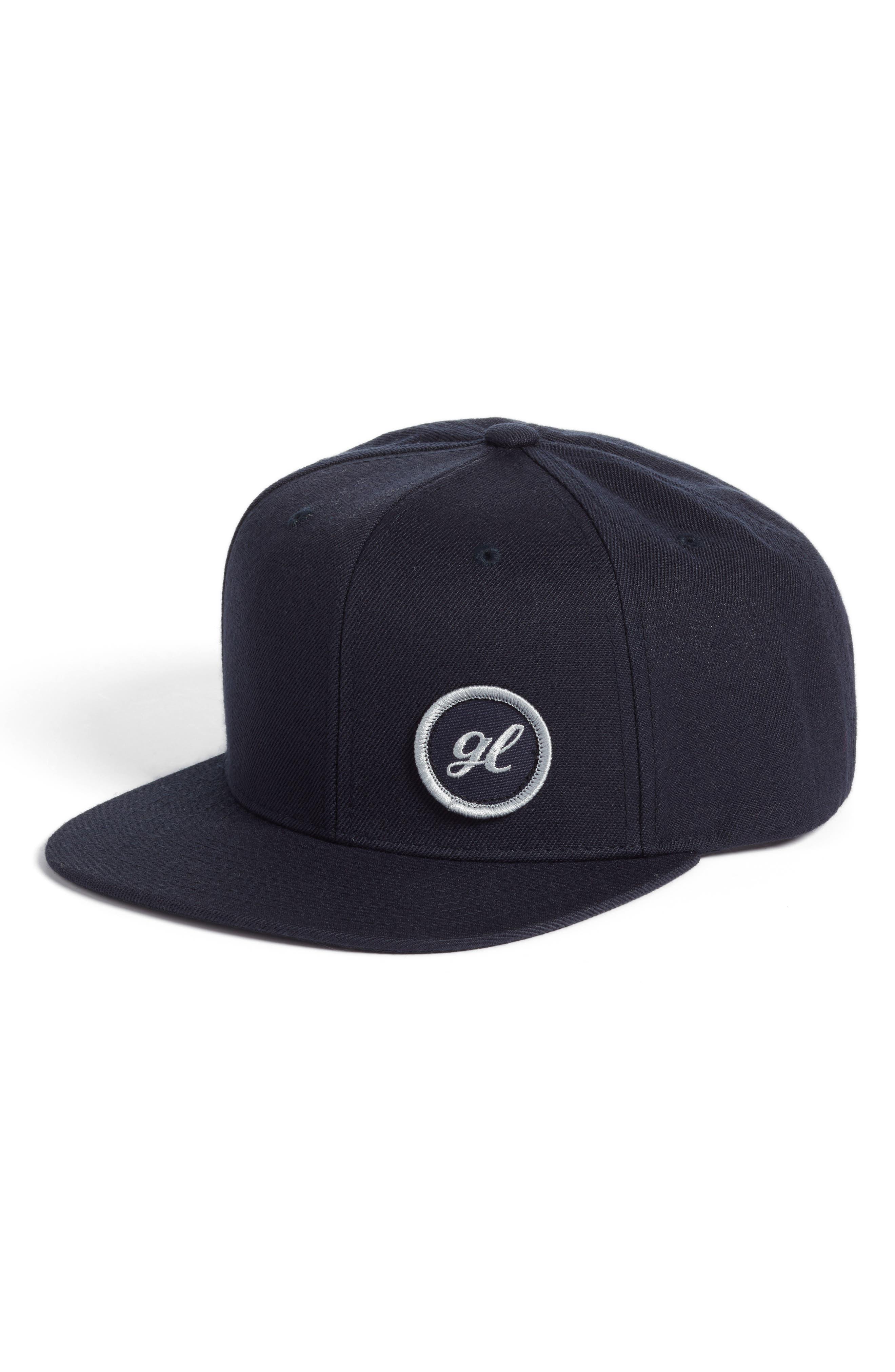Goodlife Logo Embroidered Flat Brim Hat - Blue In Navy  08deebaa382