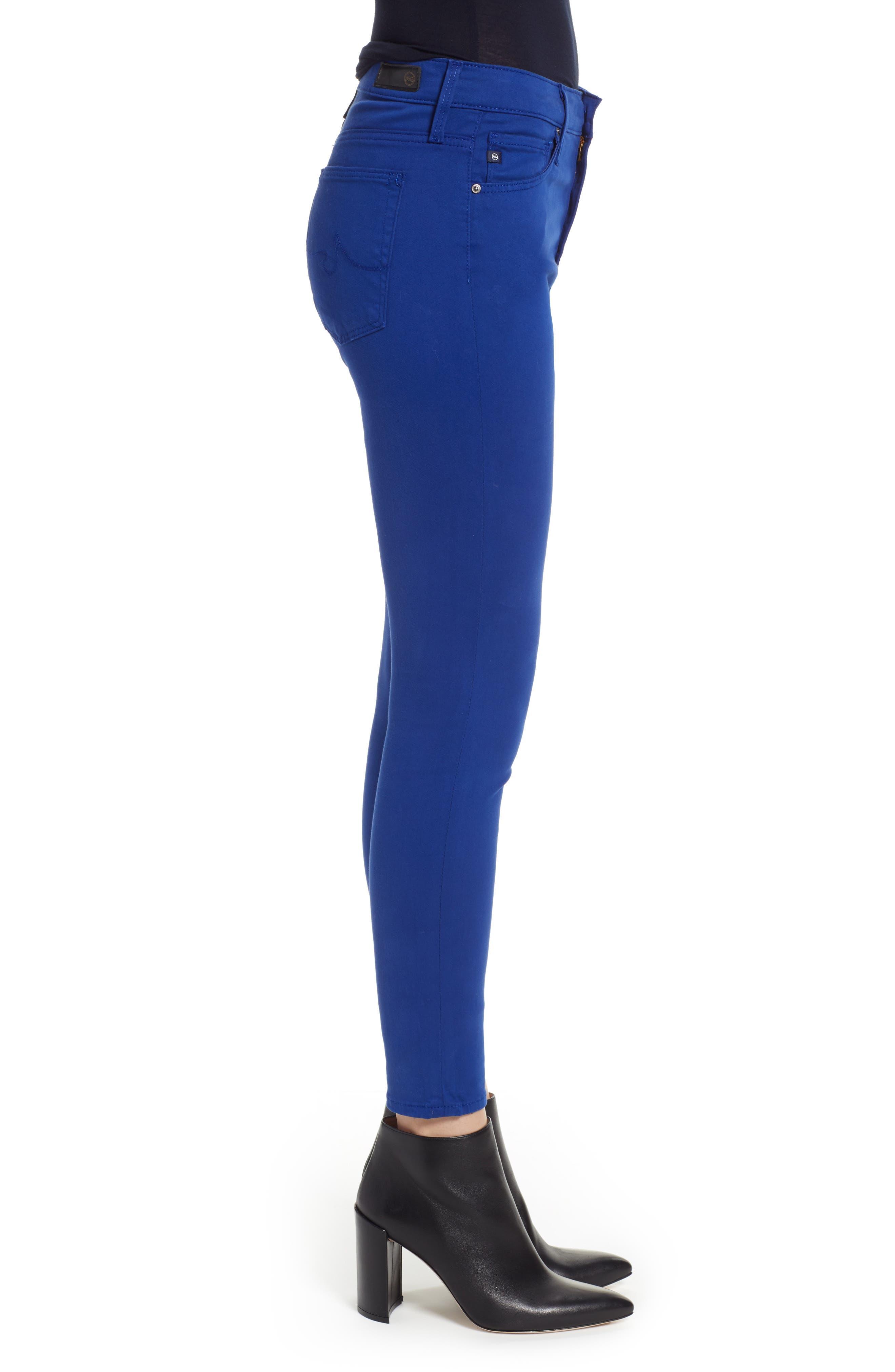 Farrah High Waist Ankle Skinny Jeans,                             Alternate thumbnail 3, color,                             EGYPTIAN BLUE