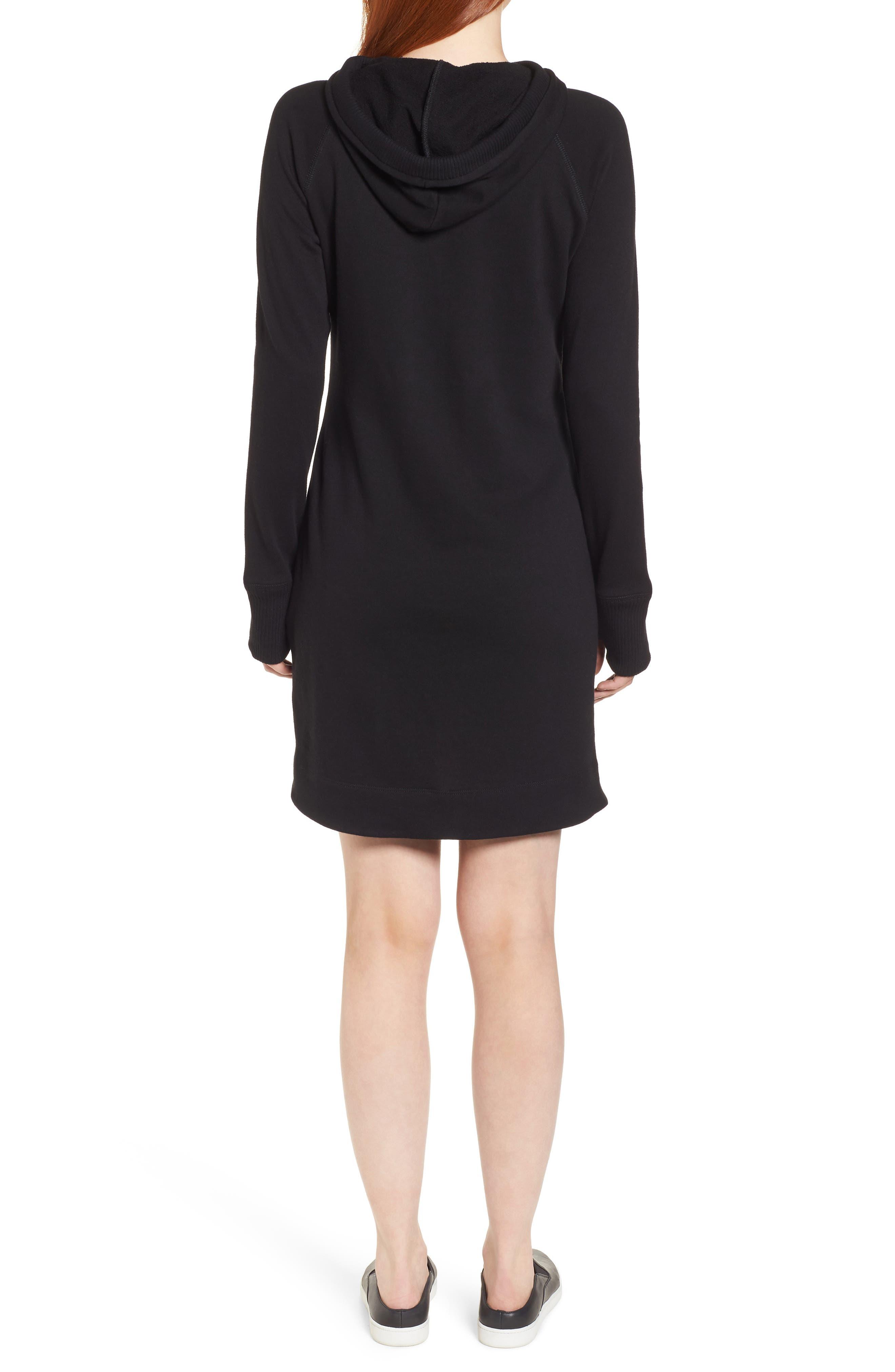 Off-Duty Hooded Sweatshirt Dress,                             Alternate thumbnail 2, color,                             001