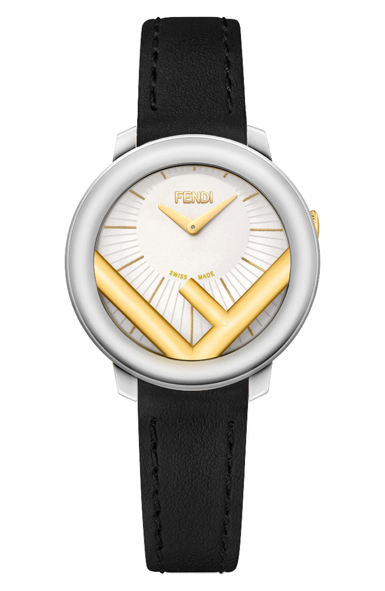 Run Away Leather Strap Watch, 28mm,                         Main,                         color, SILVER/ WHITE/ GOLD