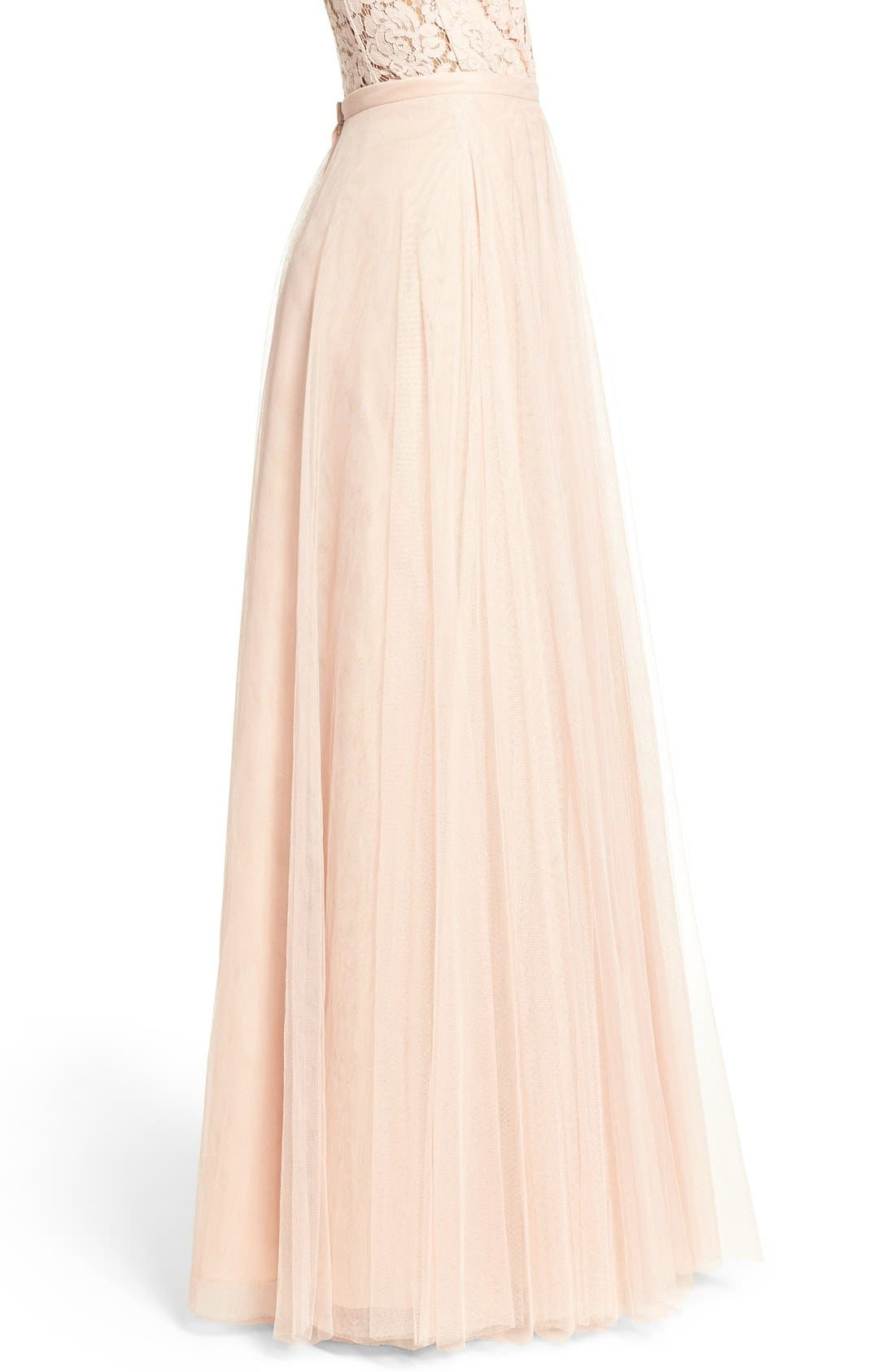 Winslow Long Tulle A-Line Skirt,                             Alternate thumbnail 9, color,                             CAMEO PINK