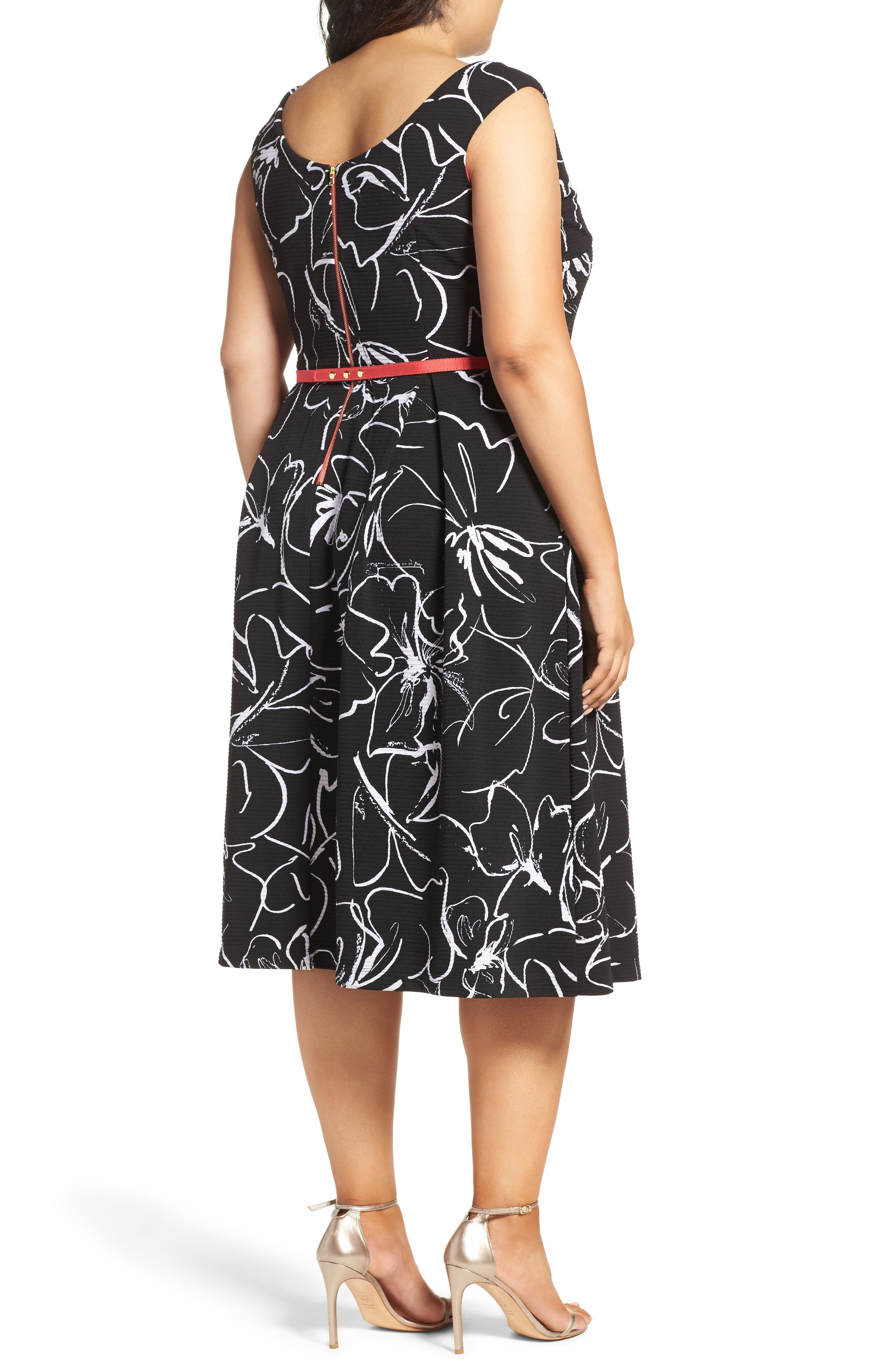 Print Fit & Flare Dress,                             Alternate thumbnail 6, color,
