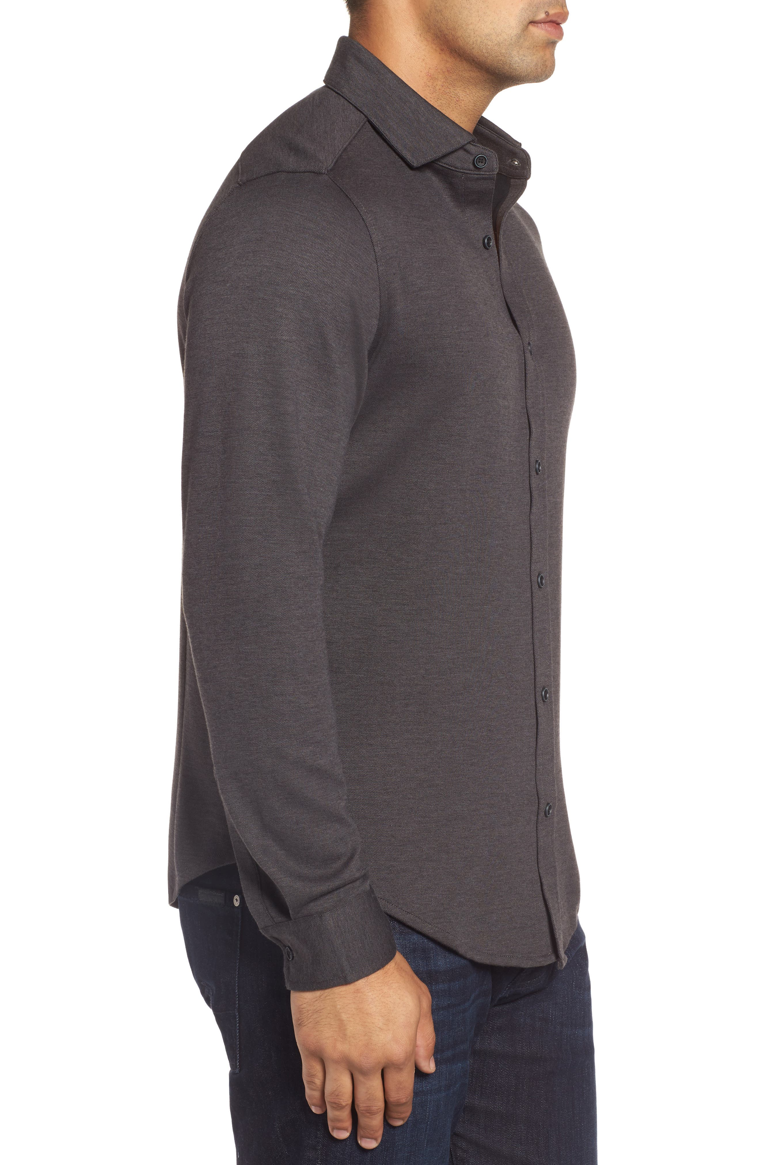 Classic Fit Heathered Knit Sport Shirt,                             Alternate thumbnail 3, color,                             020