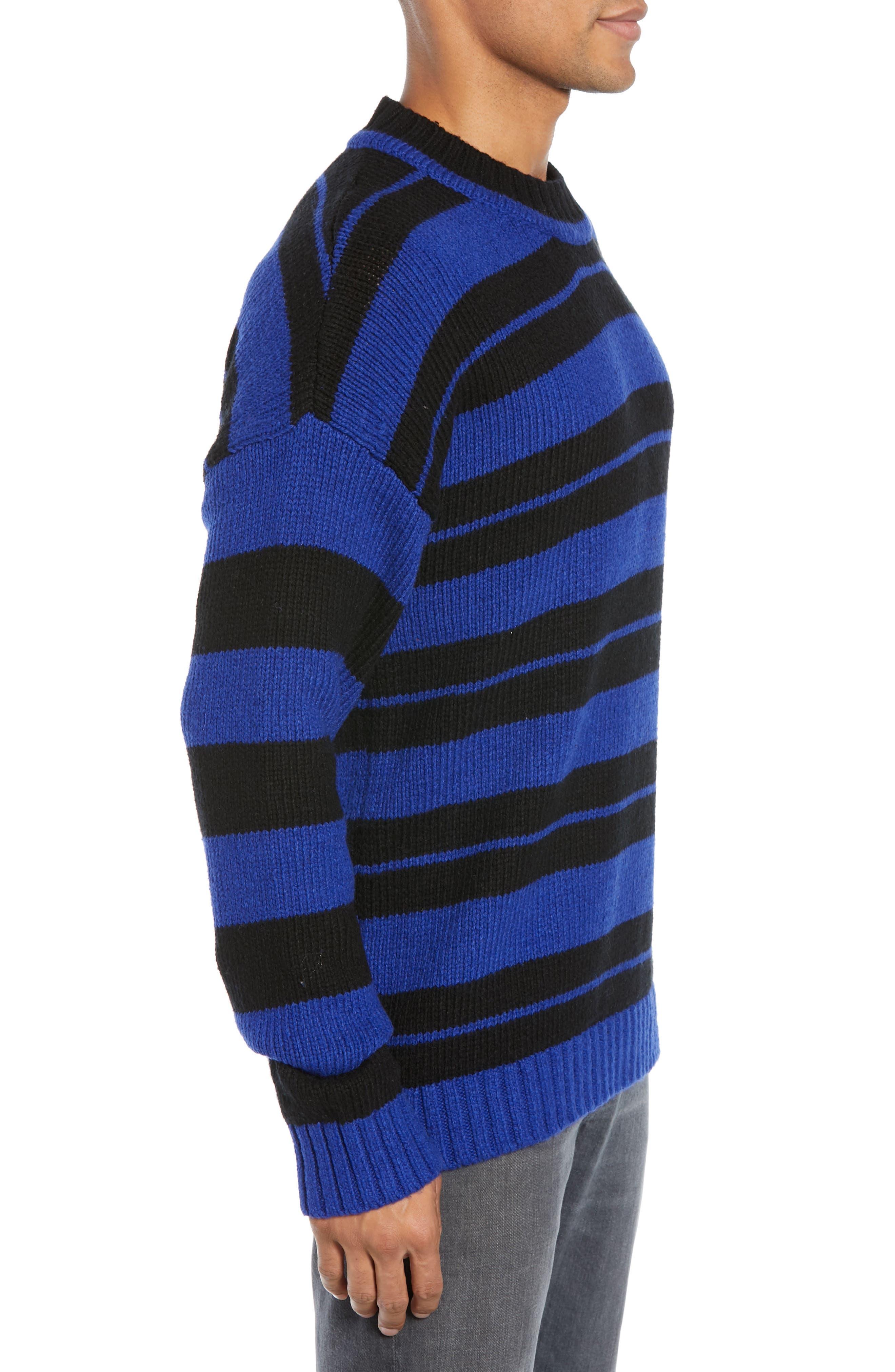 Regular Fit Varsity Stripe Sweater,                             Alternate thumbnail 3, color,                             FLURO BLUE BLACK