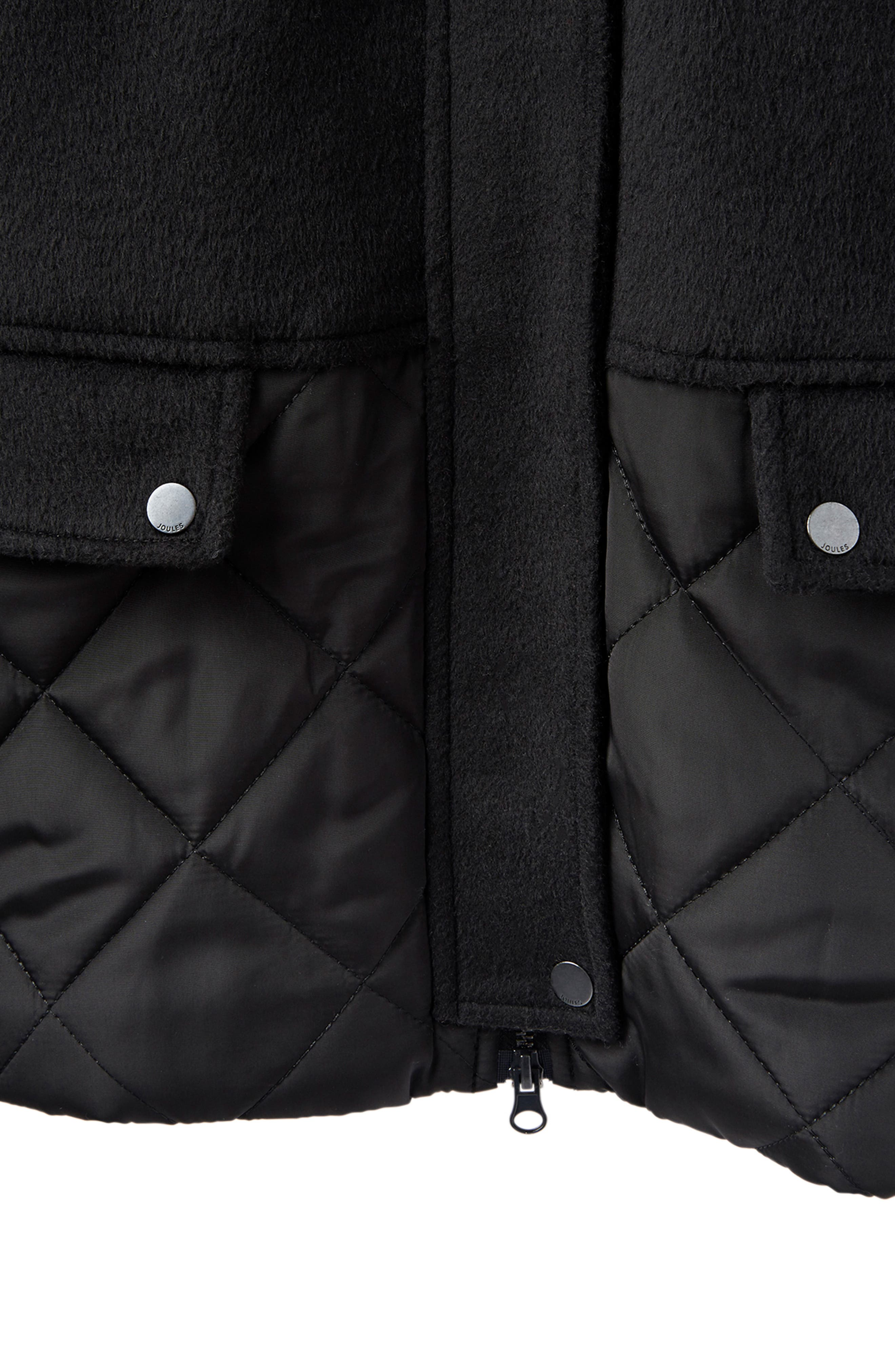 Mixed Texture Hooded Coat with Faux Fur Trim,                             Alternate thumbnail 9, color,                             BLACK