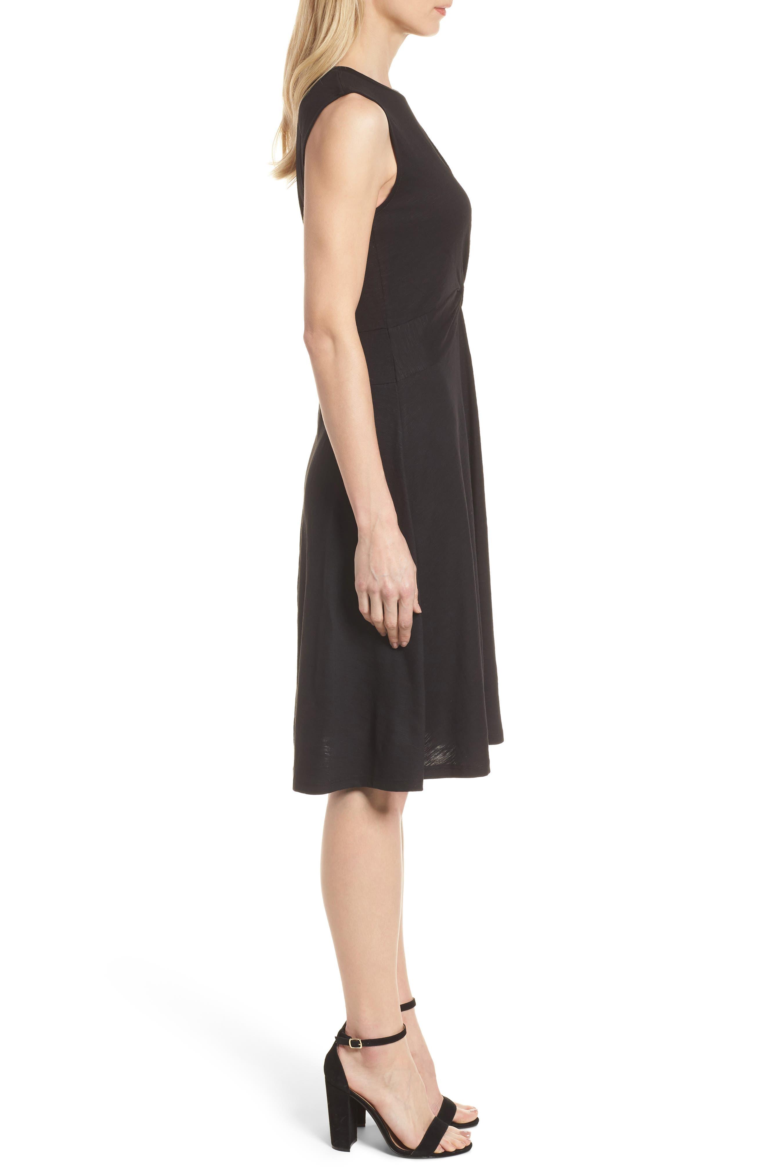 Twist Front Knit Dress,                             Alternate thumbnail 3, color,                             001