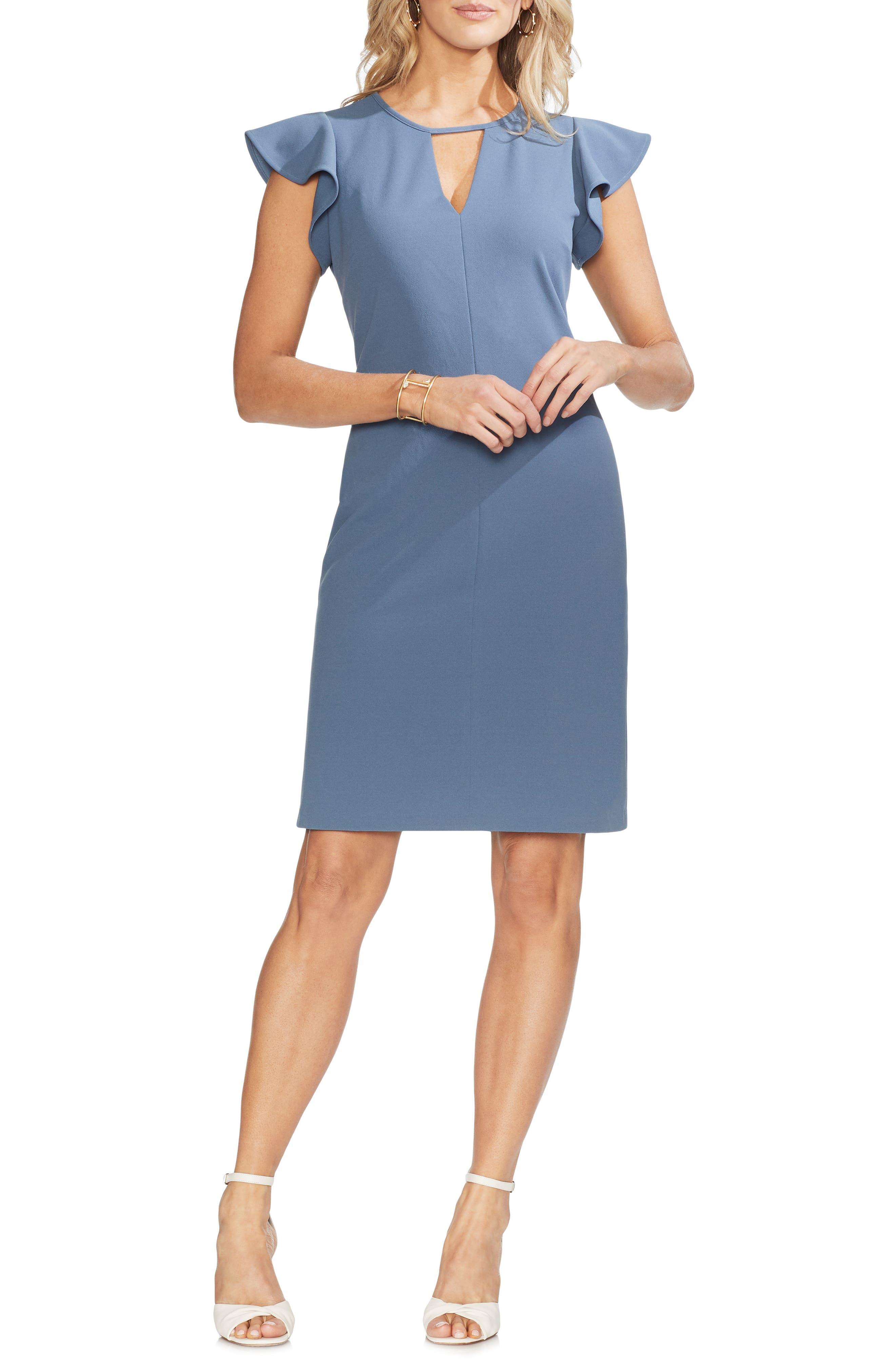 Vince Camuto Flutter Sleeve Sheath Dress, Blue