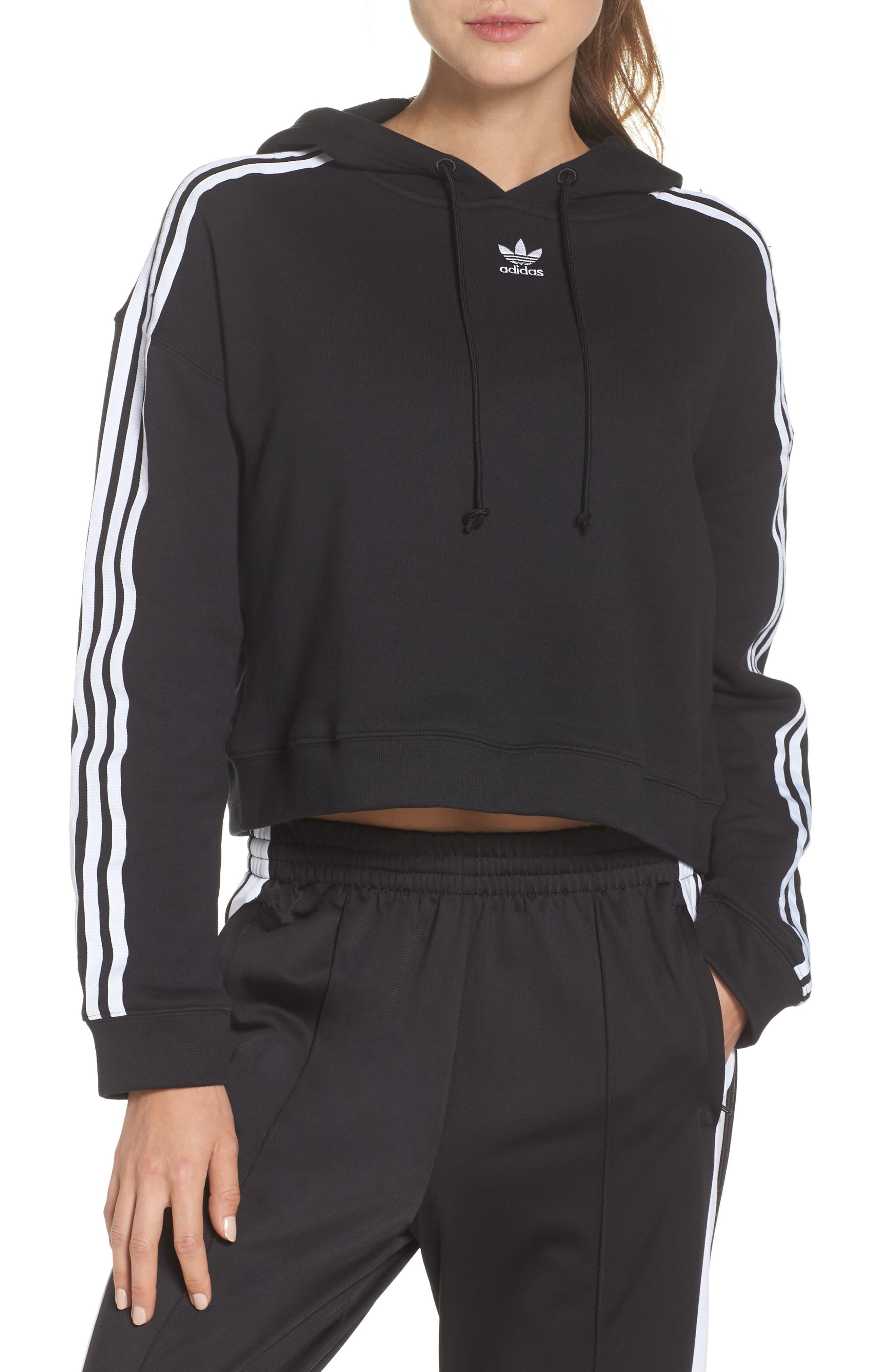 Adidas Originals Cropped Hoodie, Black