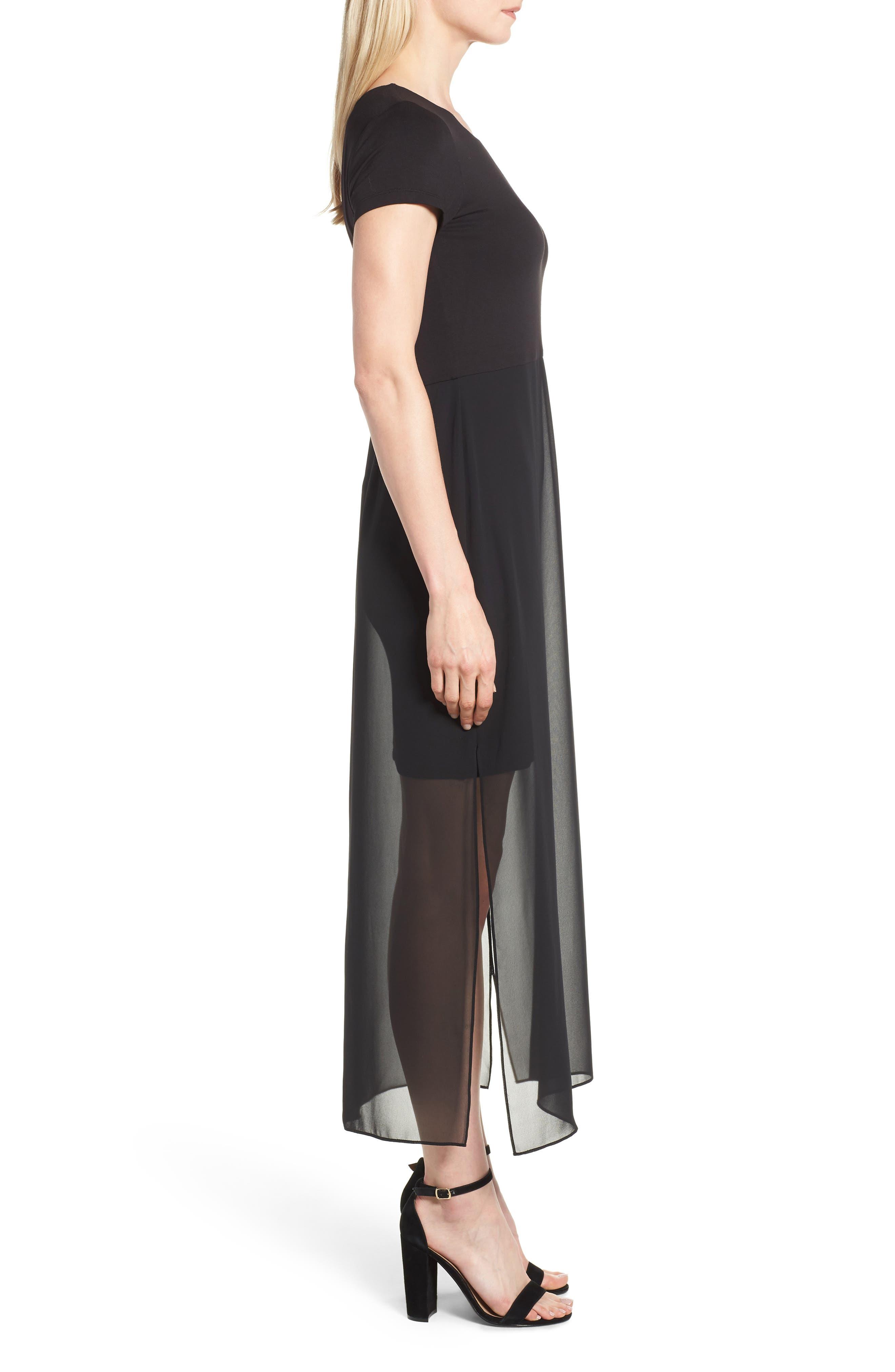 Chiffon Overlay Maxi Dress,                             Alternate thumbnail 3, color,                             RICH BLACK