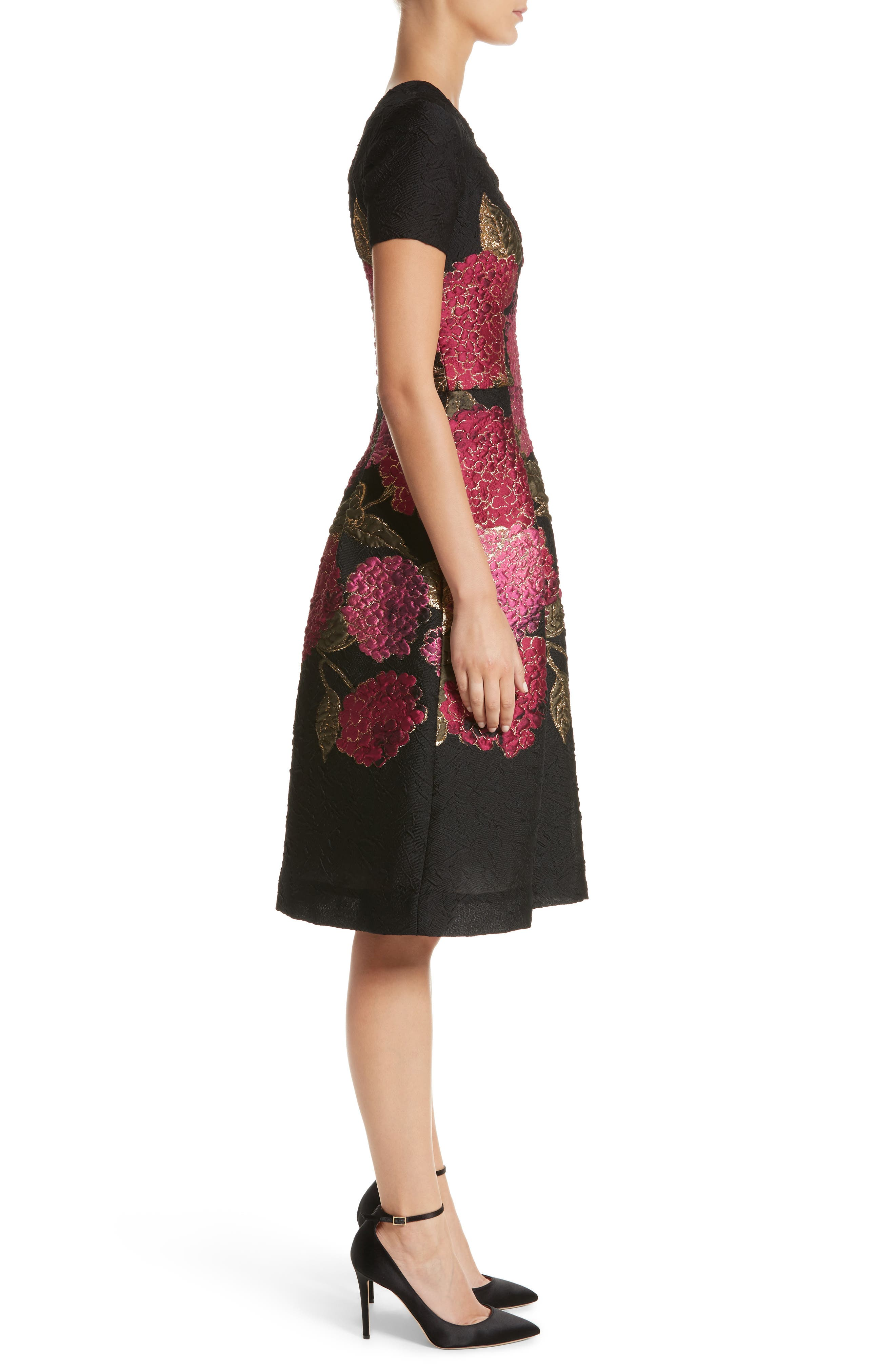 Embroidered Brocade Fit & Flare Dress,                             Alternate thumbnail 3, color,                             001