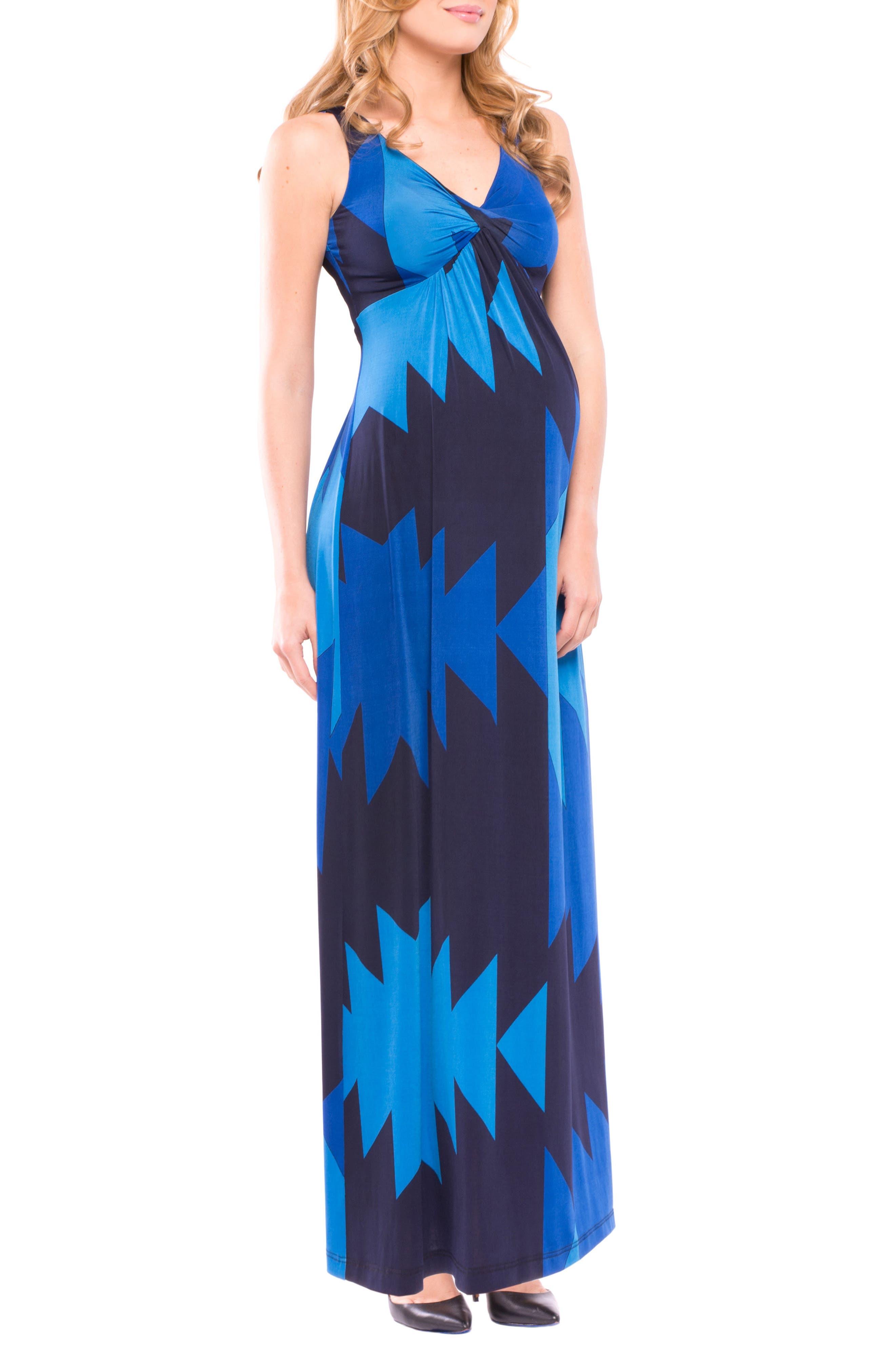 Olivia Sleeveless Maternity Maxi Dress,                             Alternate thumbnail 4, color,                             BLUE AZTEC PRINT