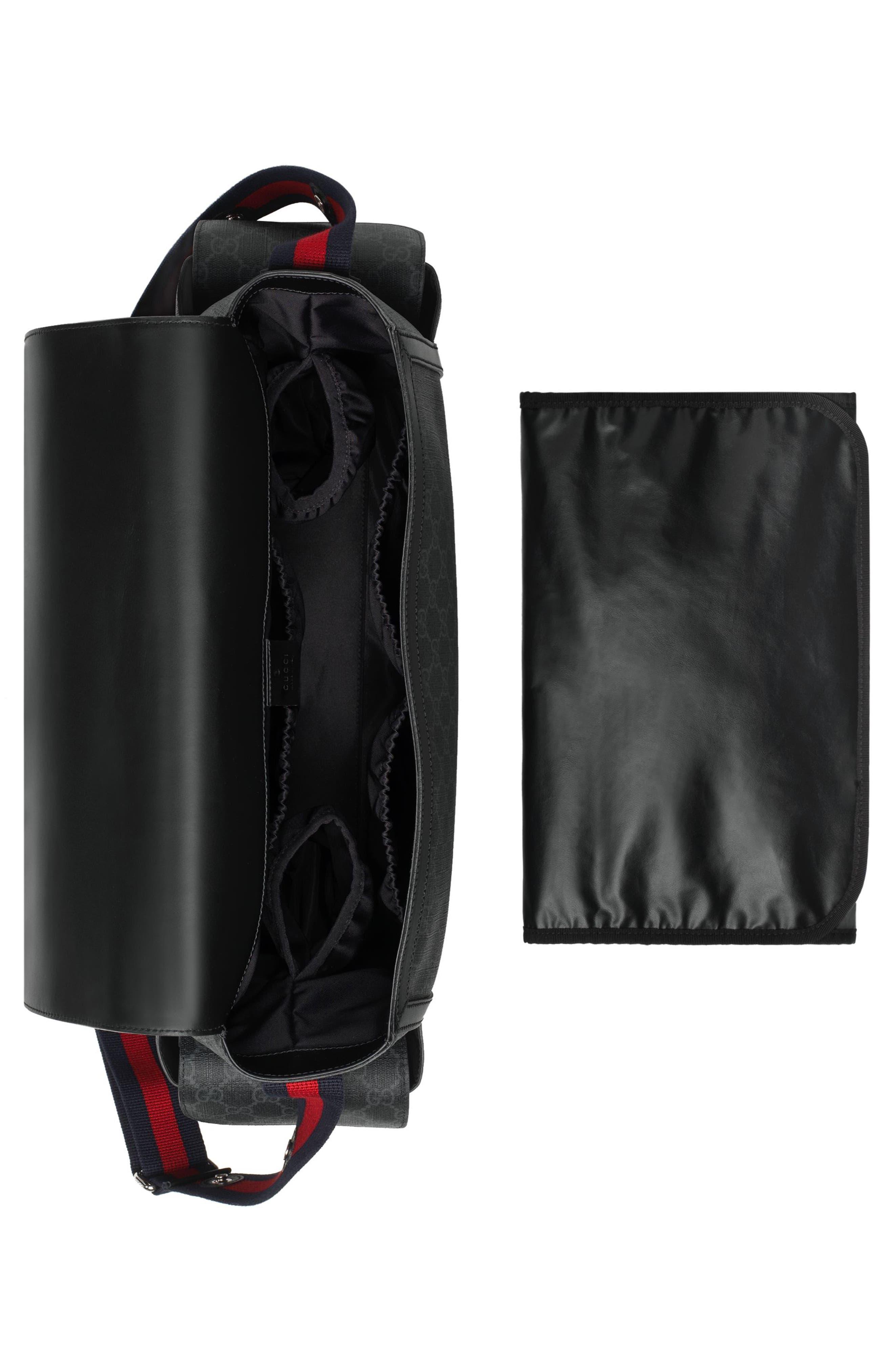 GG Supreme Canvas Diaper Bag,                             Alternate thumbnail 8, color,                             BLACK