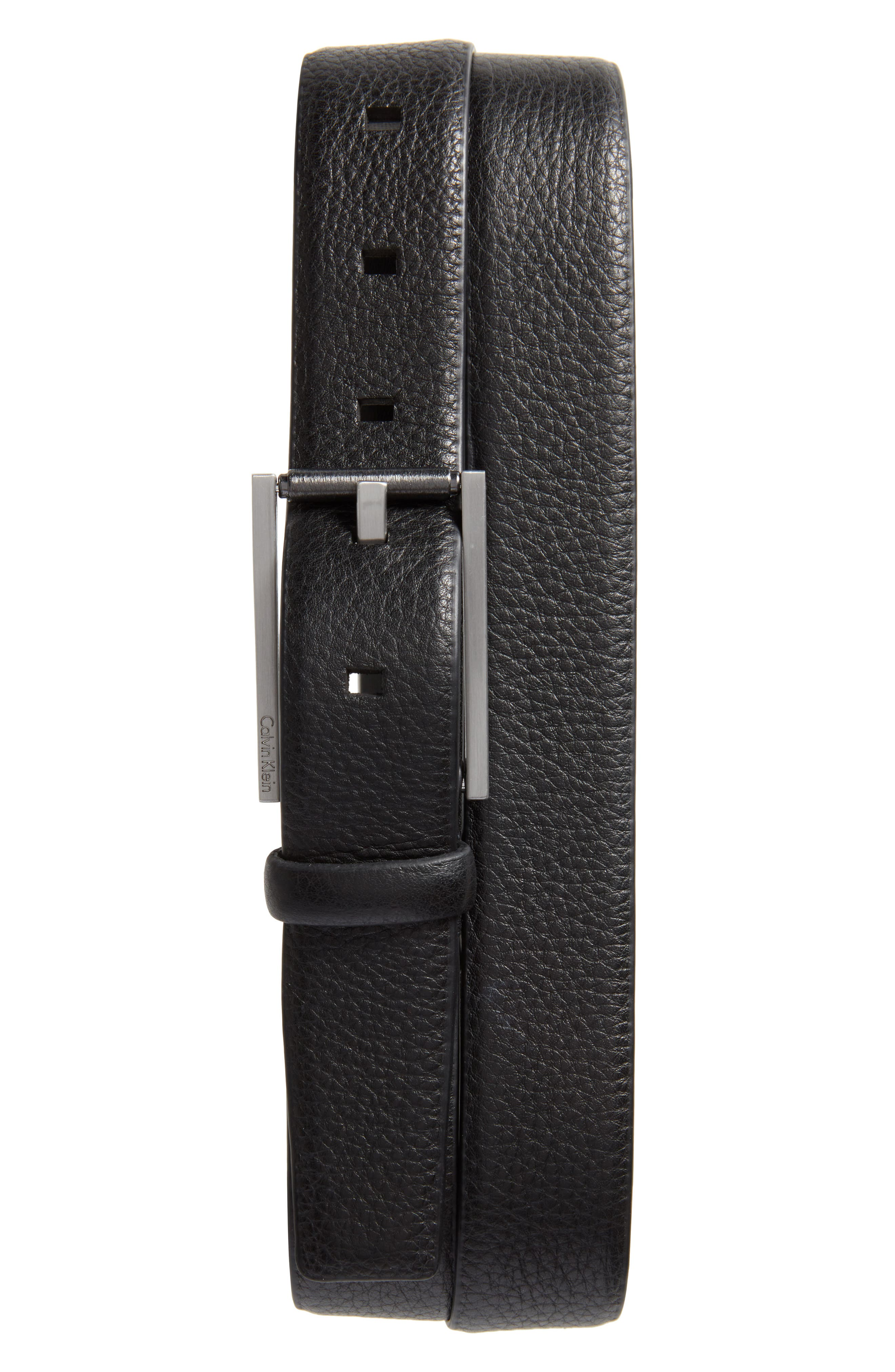 Pebbled Leather Belt,                             Main thumbnail 1, color,                             001