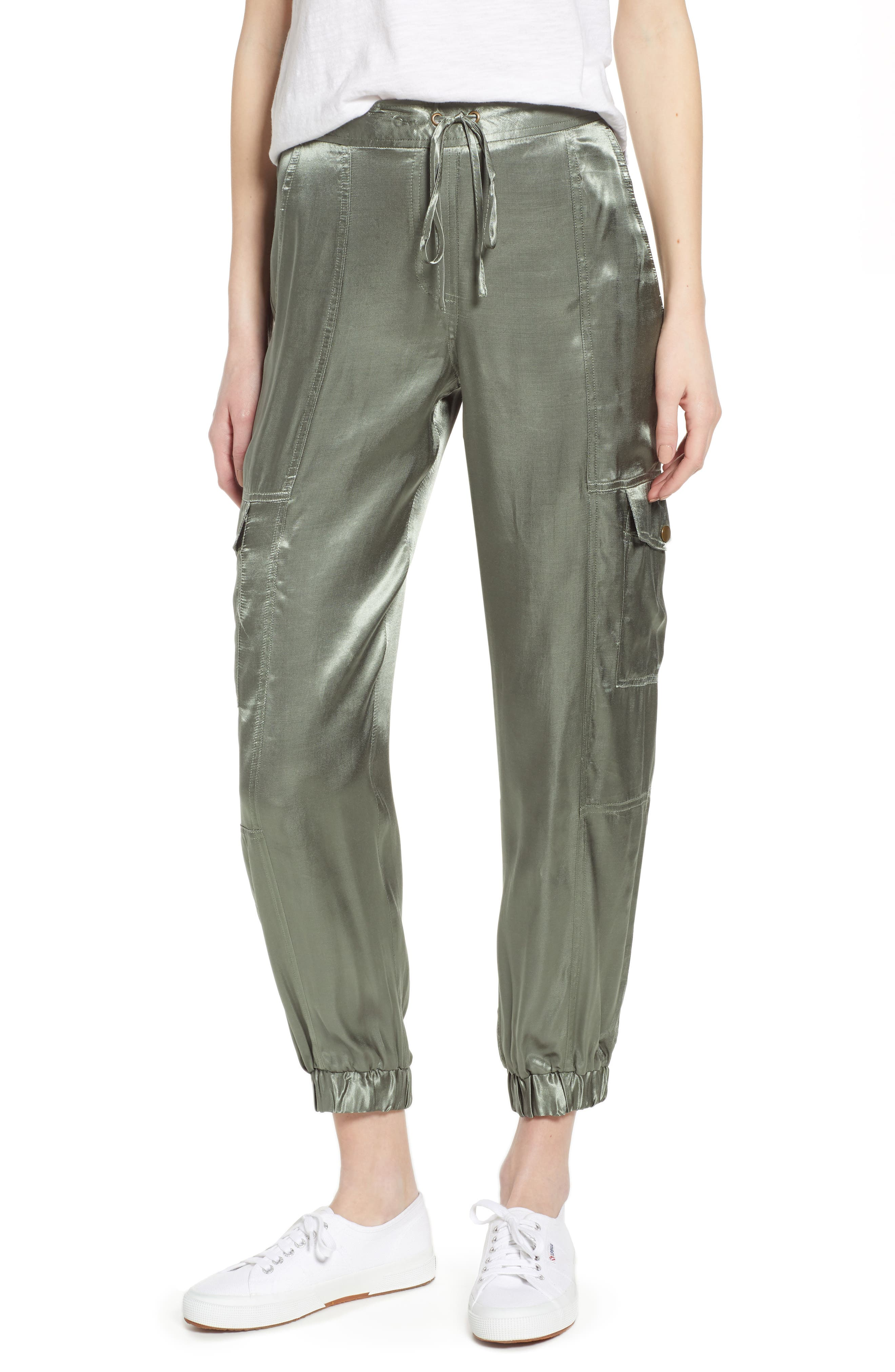 1.state Soft Satin Cargo Jogger Pants, Green