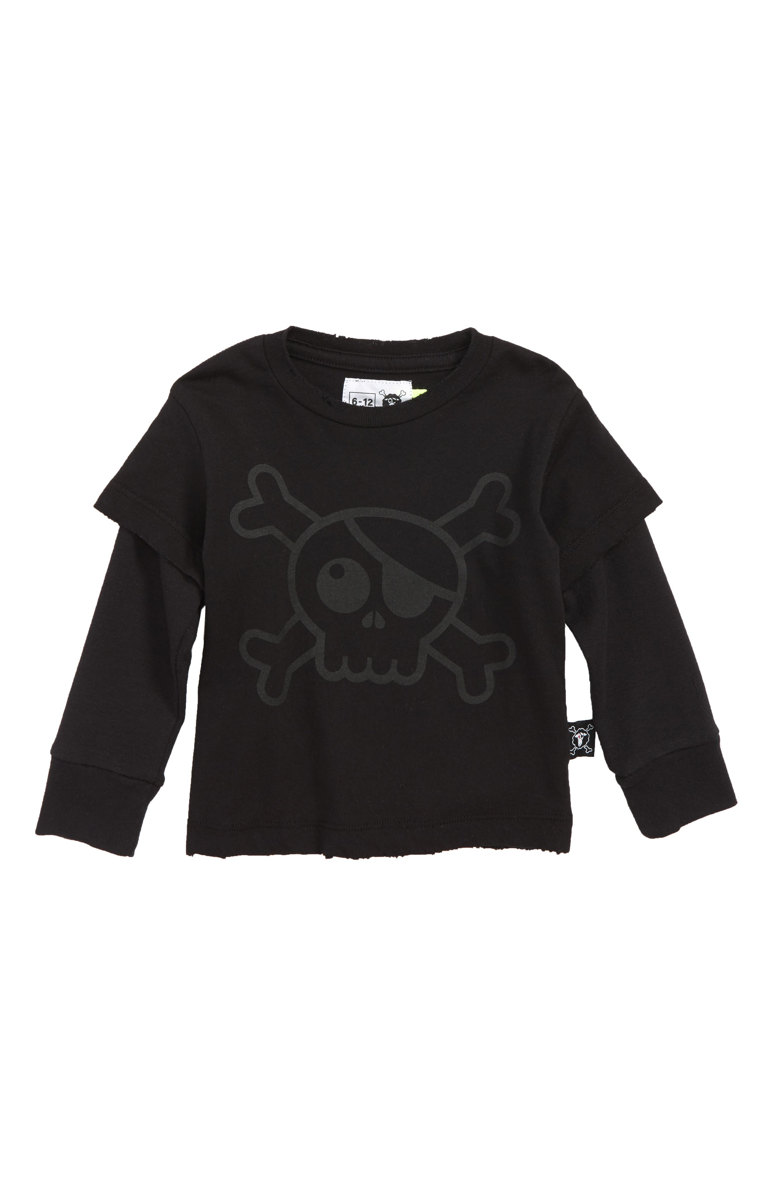 Skull Graphic T-Shirt,                         Main,                         color, BLACK
