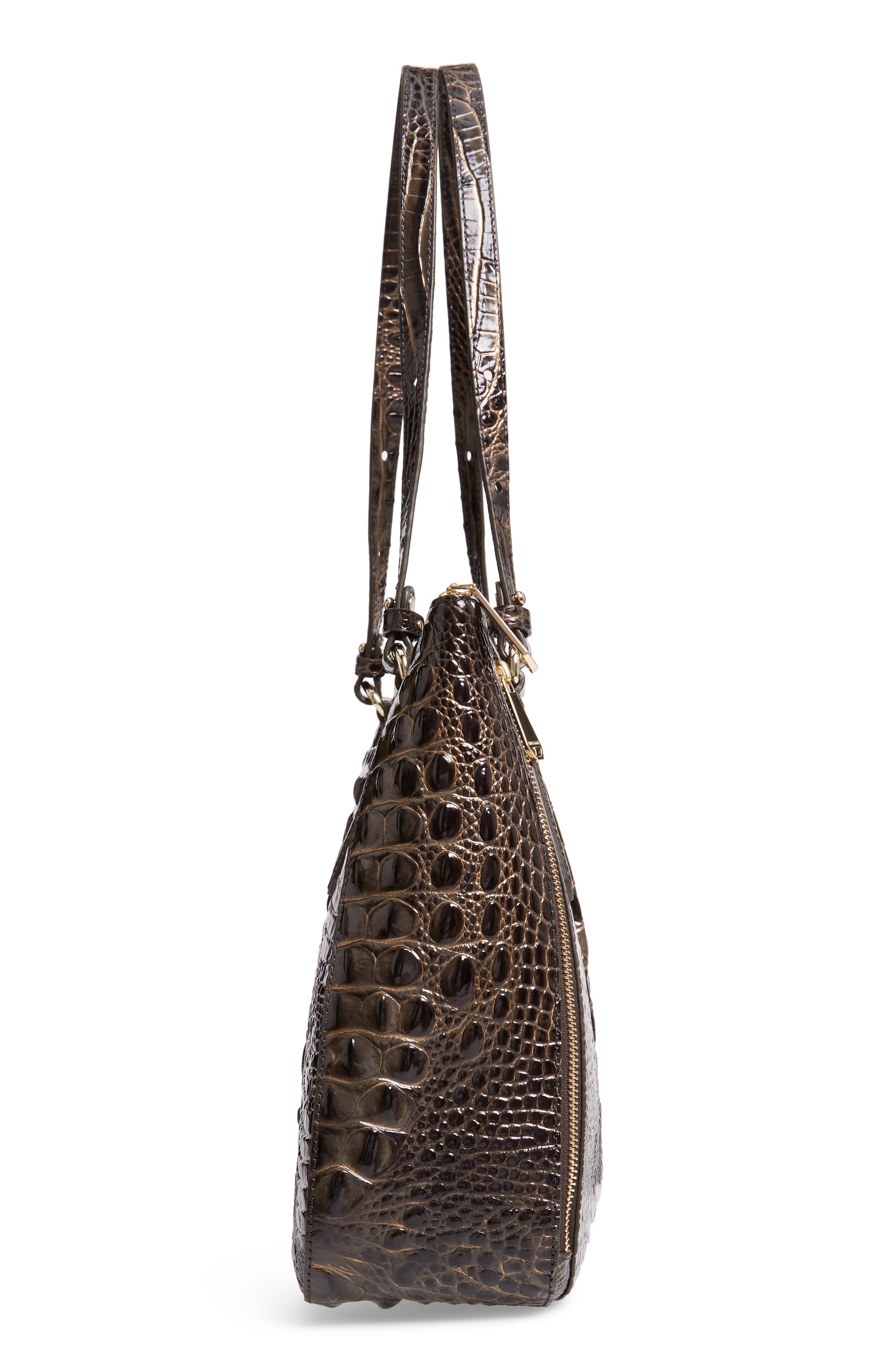 Melbourne - Adina Croc Embossed Leather Satchel,                             Alternate thumbnail 5, color,                             GRAPHITE