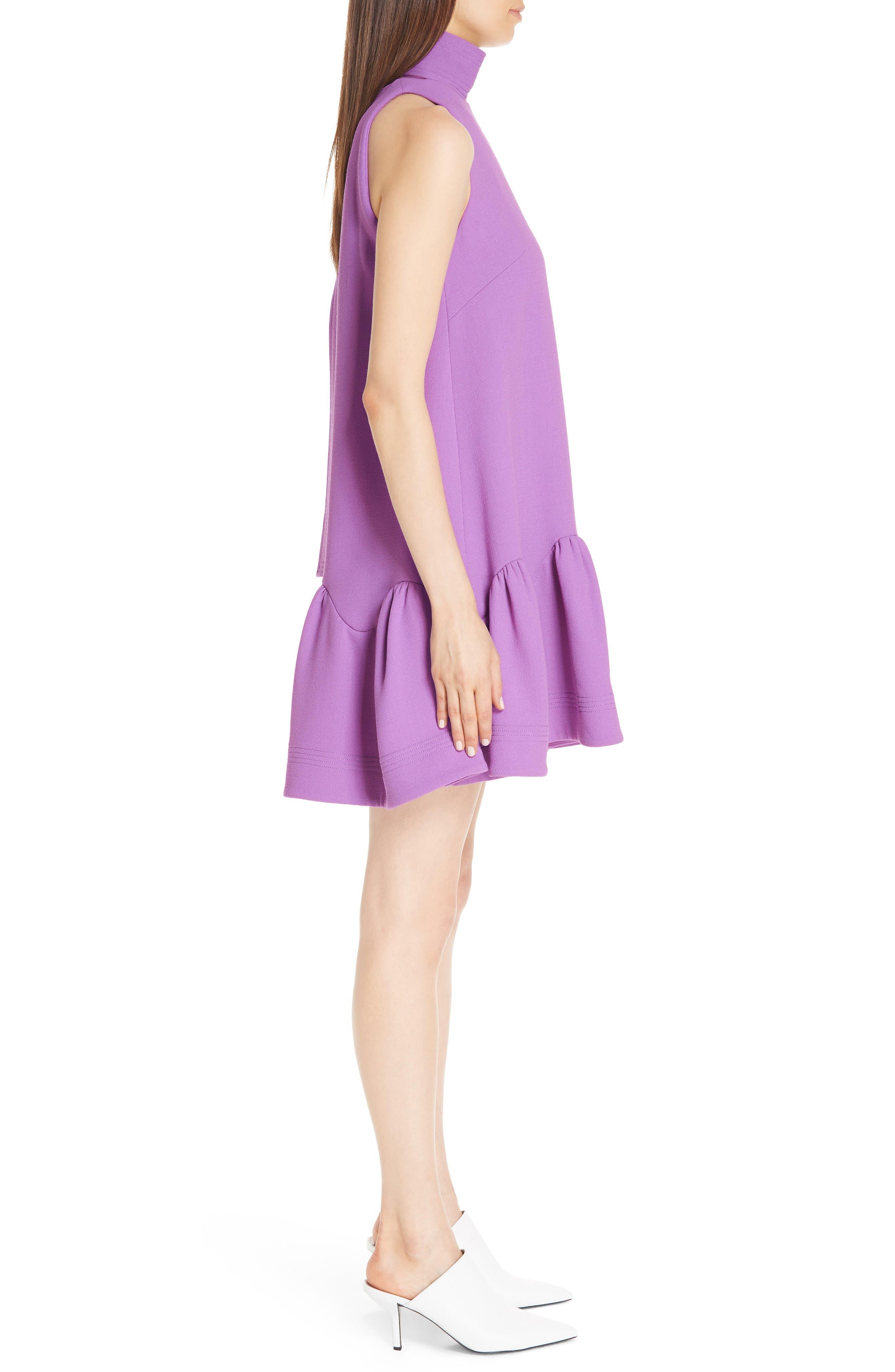 Scarf Neck Wool Blend Crepe Drop Waist Dress,                             Alternate thumbnail 4, color,                             LAVENDER