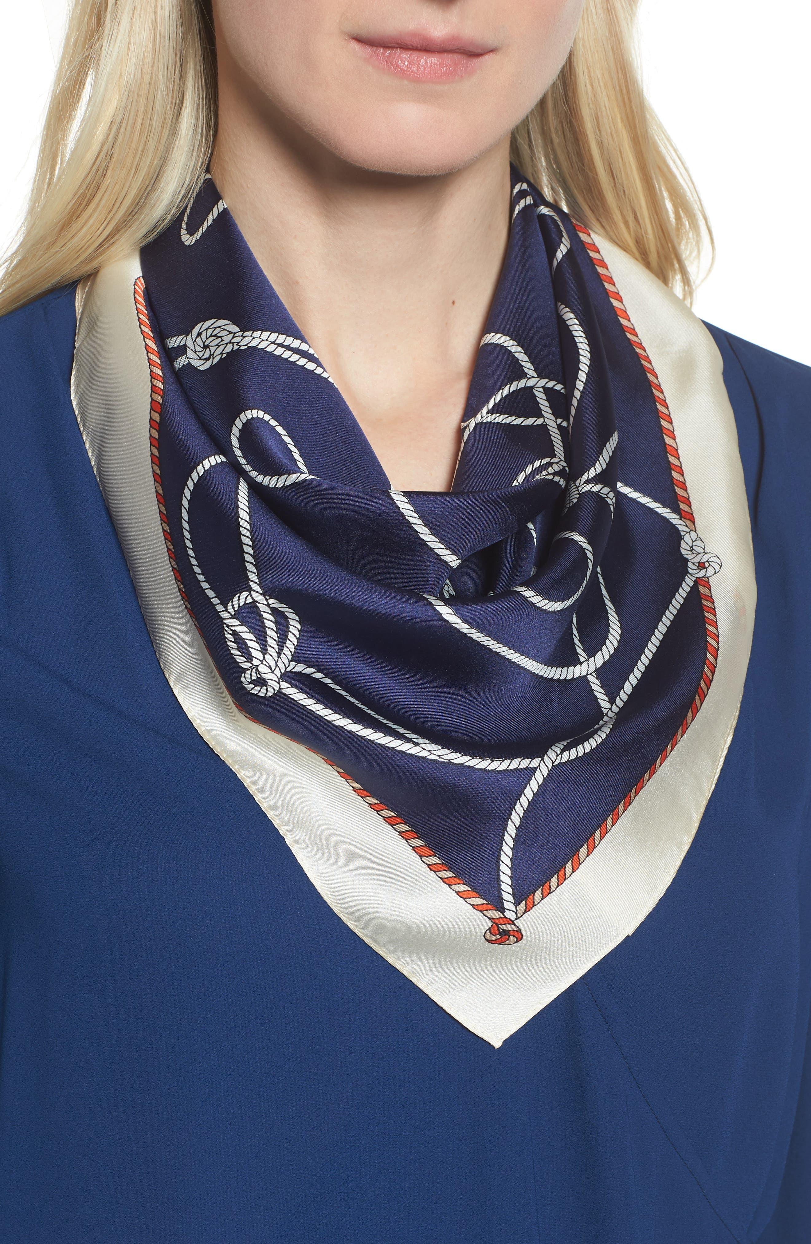 Nautical Knots Silk Bandana,                         Main,                         color, 412