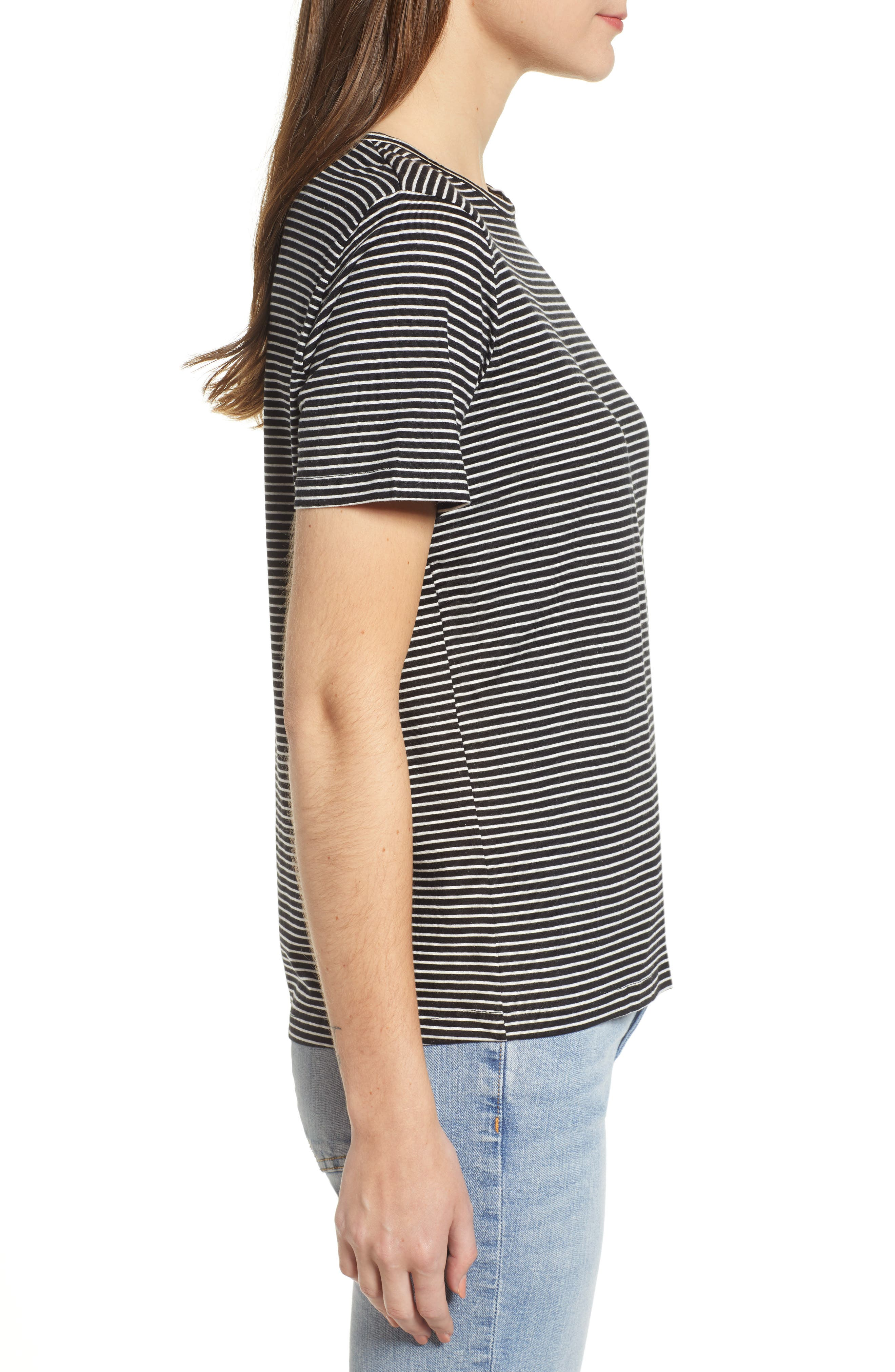 Ava Stripe Tee,                             Alternate thumbnail 3, color,                             BLACK STRIPE