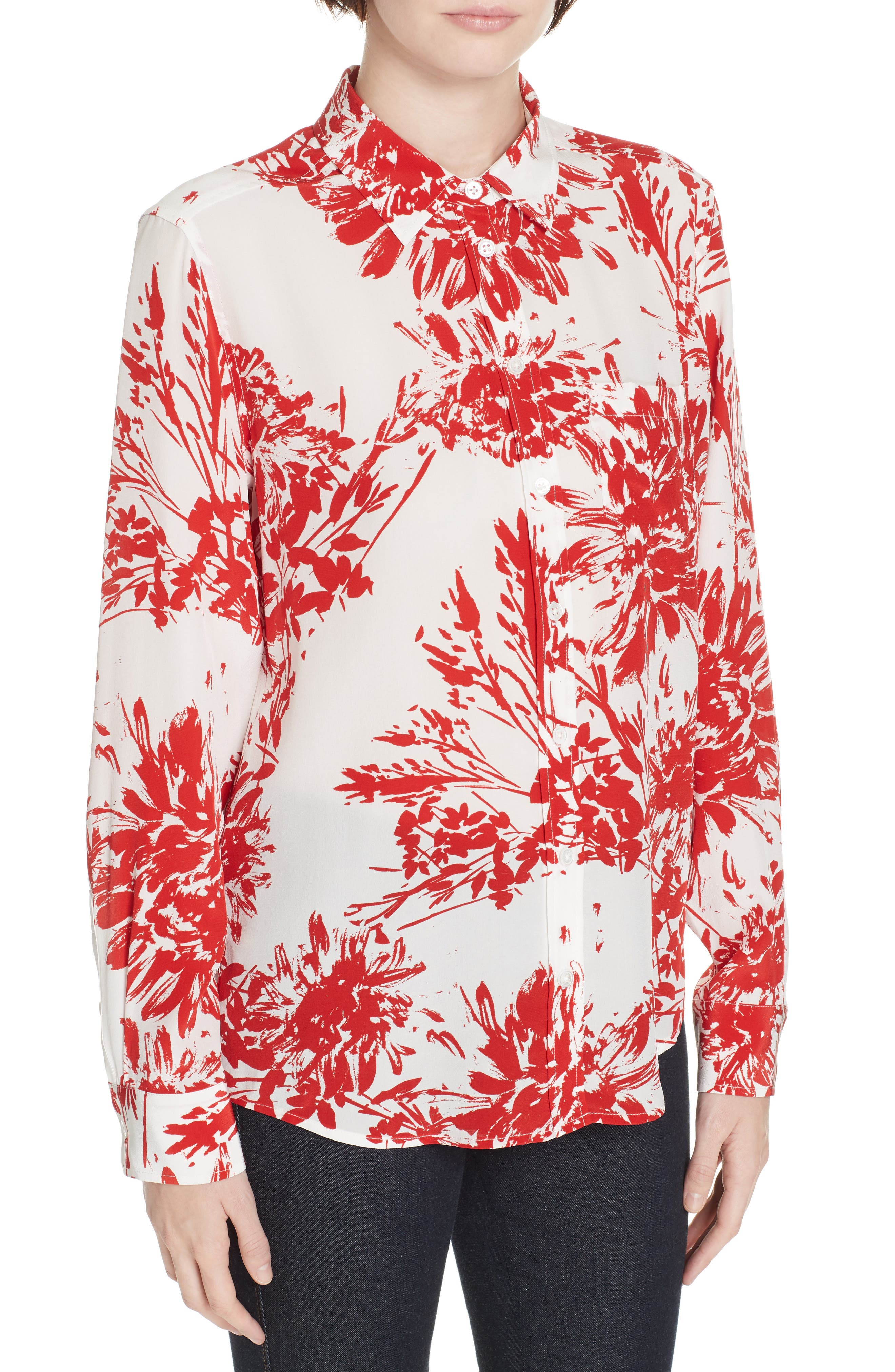 Brett Silk Blend Shirt,                             Alternate thumbnail 4, color,                             NATURAL WHITE BLOOD MOON