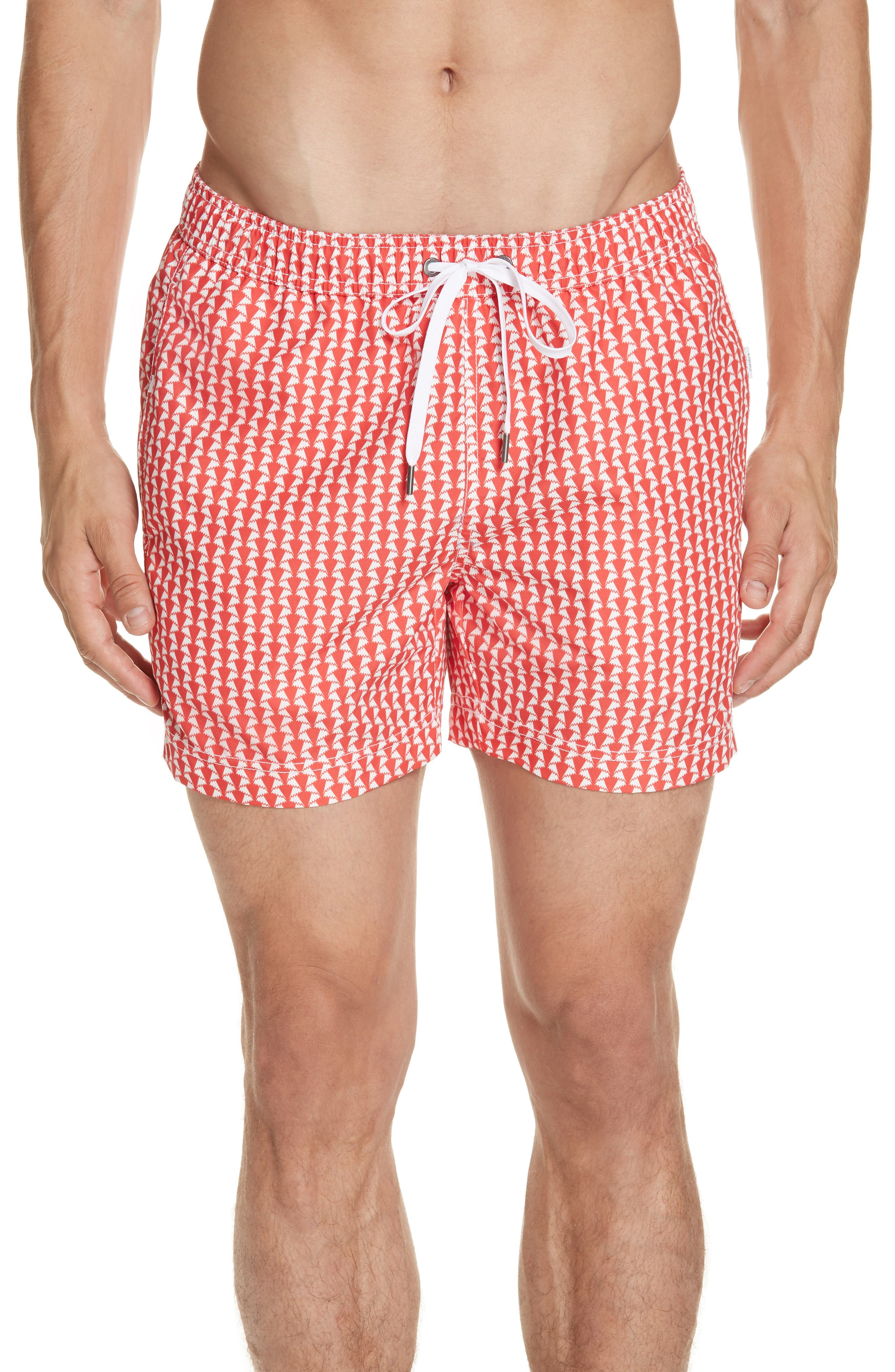 Onia Charles Paper Fold Print Swim Trunks, Red