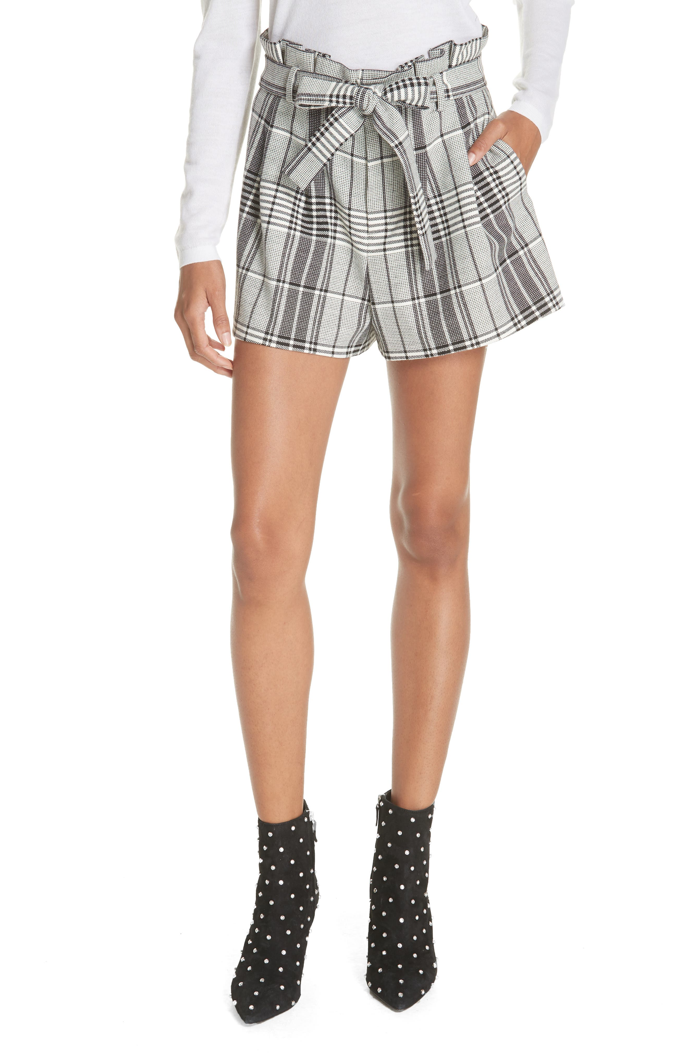 Laurine Paperbag Shorts,                         Main,                         color, BLACK/ WHITE